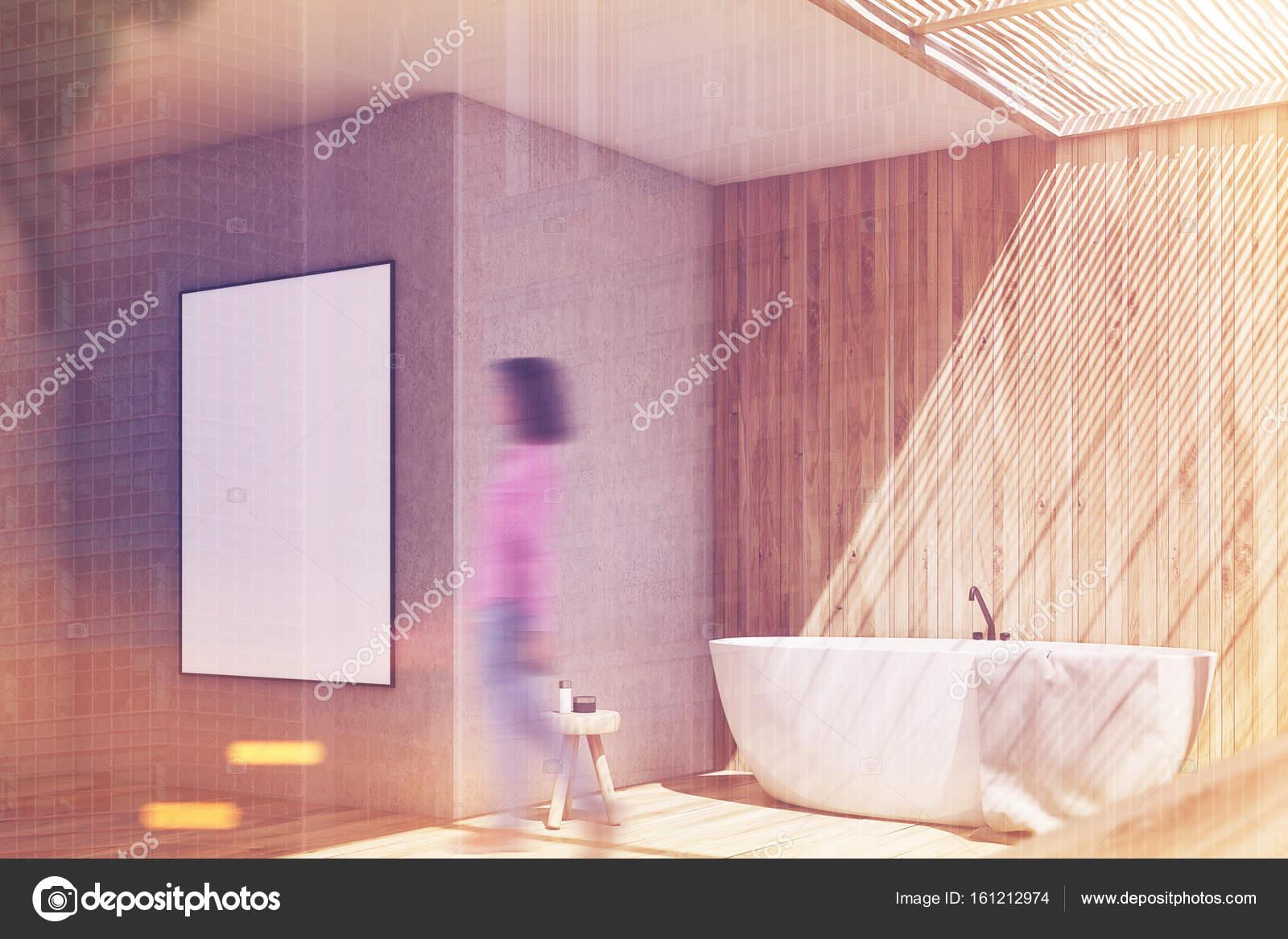 Perfekt Aus Holz Und Beige Bad, Plakat Seite Getönt U2014 Stockfoto
