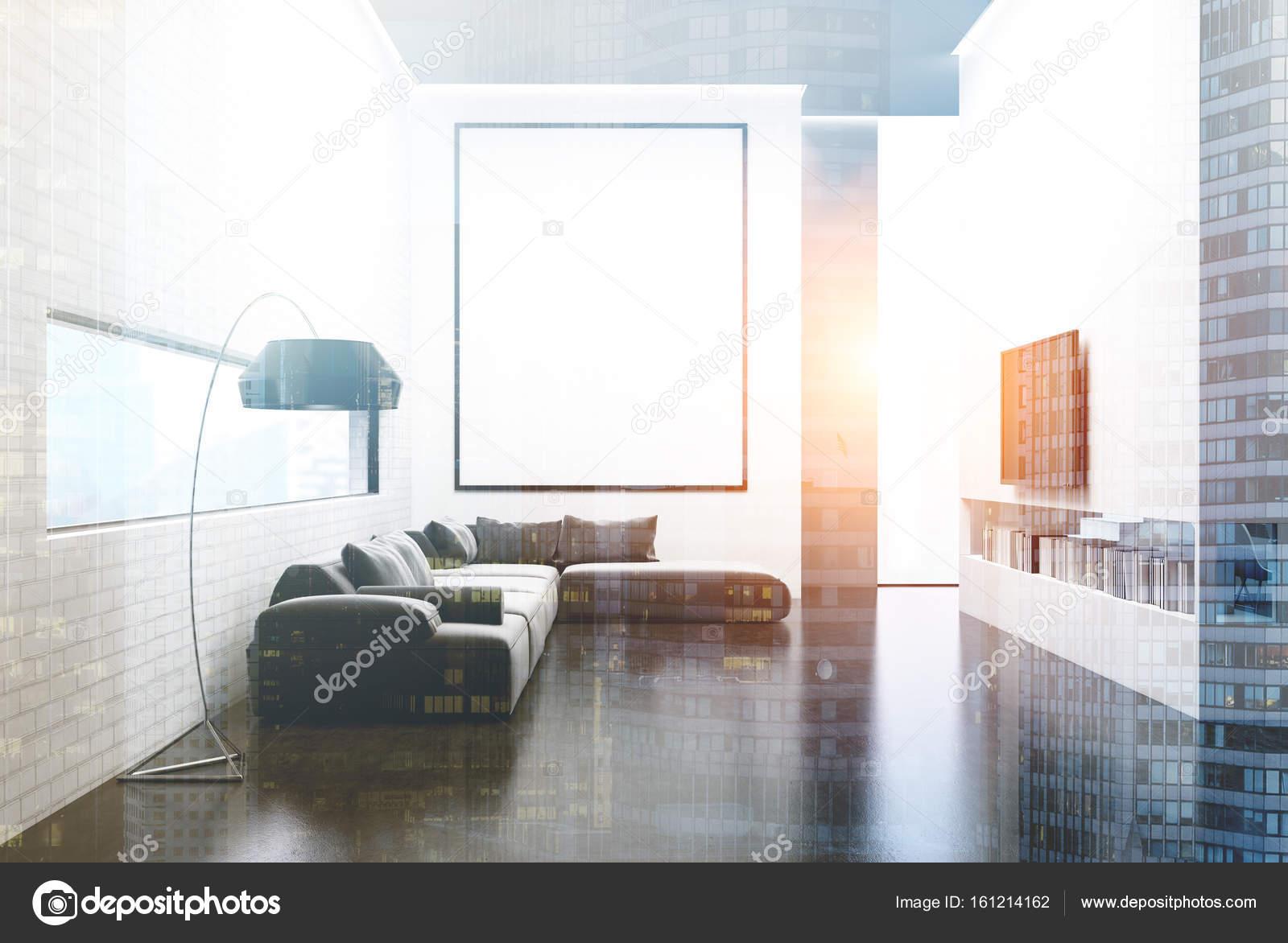 Graue Sofa Wohnzimmer, Fernseher Und Plakat Getönten U2014 Stockfoto