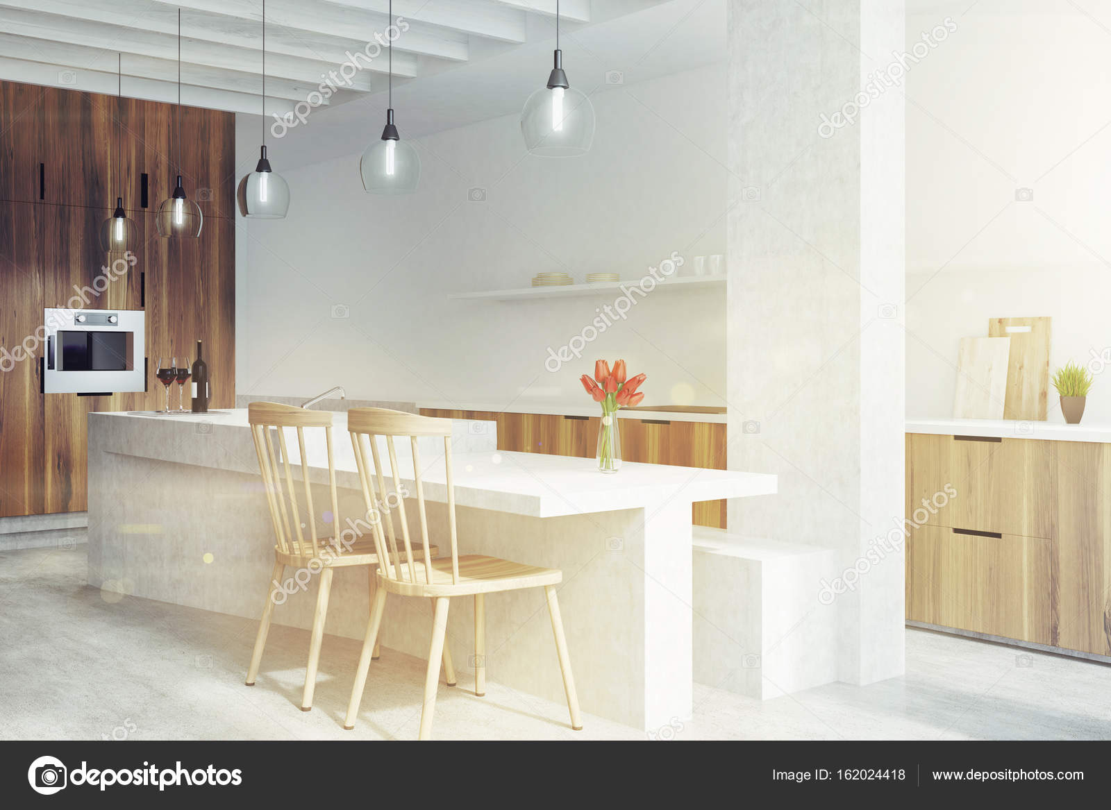 Bar En Marbre Dans Une Cuisine Blanche Avec Armoires En Bois, Deux Chaises,  étagères Avec Lunettes Et Construit Dans Le Four. Maquettes 3D Rendu Image  ...