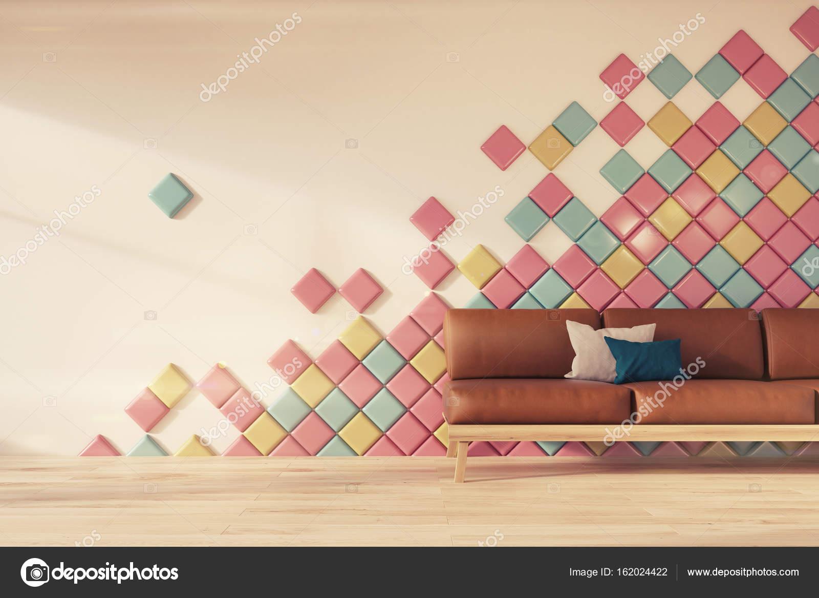 Witte muur, tegels, bruin sofa toned — Stockfoto © denisismagilov ...