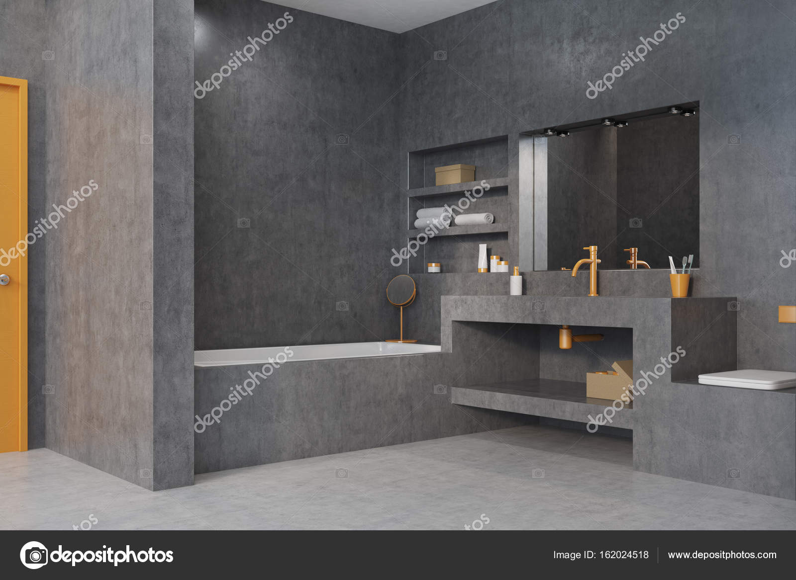 Grijze badkamer, bad, wastafel en spiegel hoek — Stockfoto ...