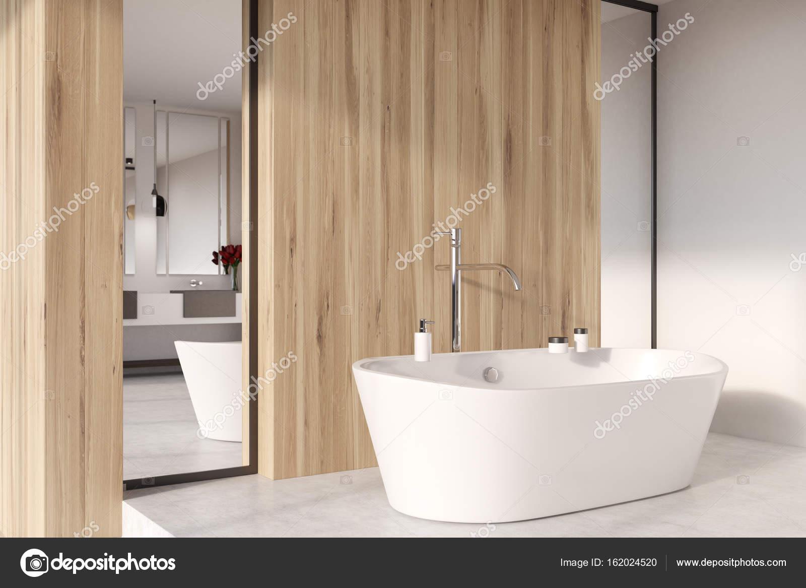 Aus Holz Bad, Dusche, Badewanne schließen sich — Stockfoto ...