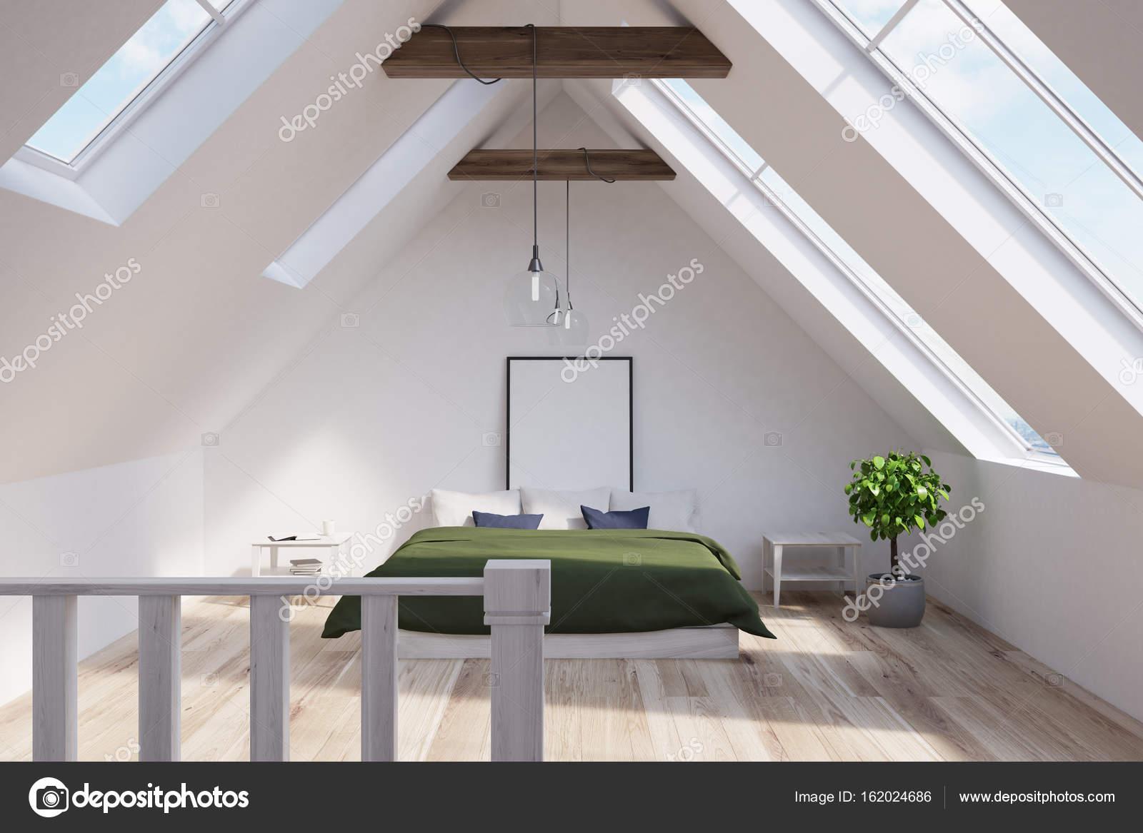 Dachgeschoss Schlafzimmer mit einem grünen Bett, Plakat — Stockfoto ...