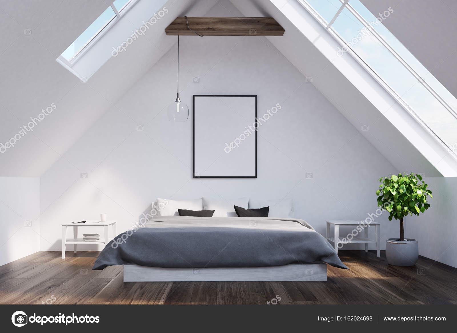 Dachgeschoss Schlafzimmer mit einem grauen Bett, Plakat — Stockfoto ...
