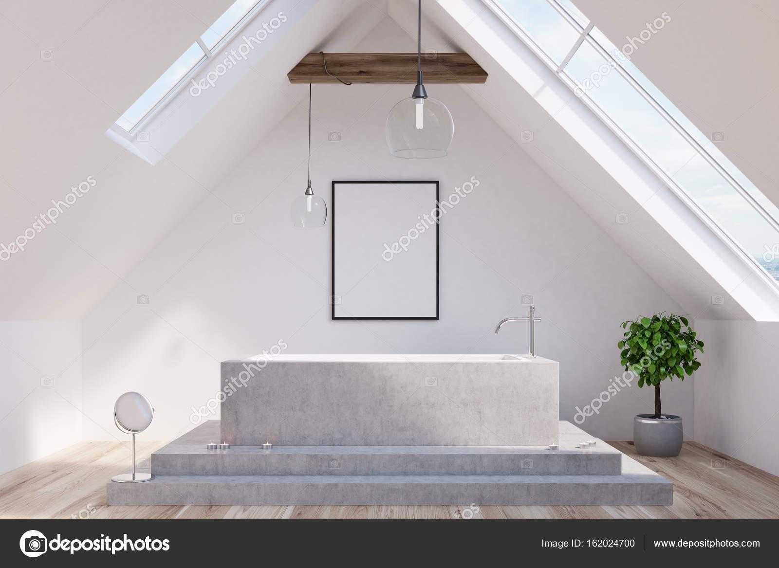 Baño ático, tina de mármol, cartel — Foto de stock © denisismagilov ...