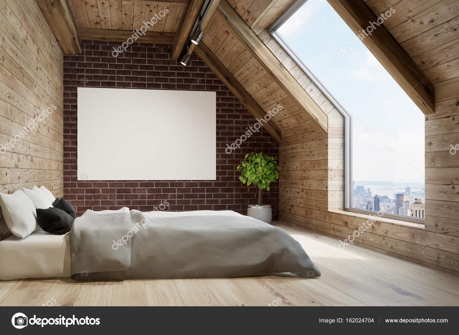 Dachgeschoss Schlafzimmer, graue Bettwäsche, poster — Stockfoto ...