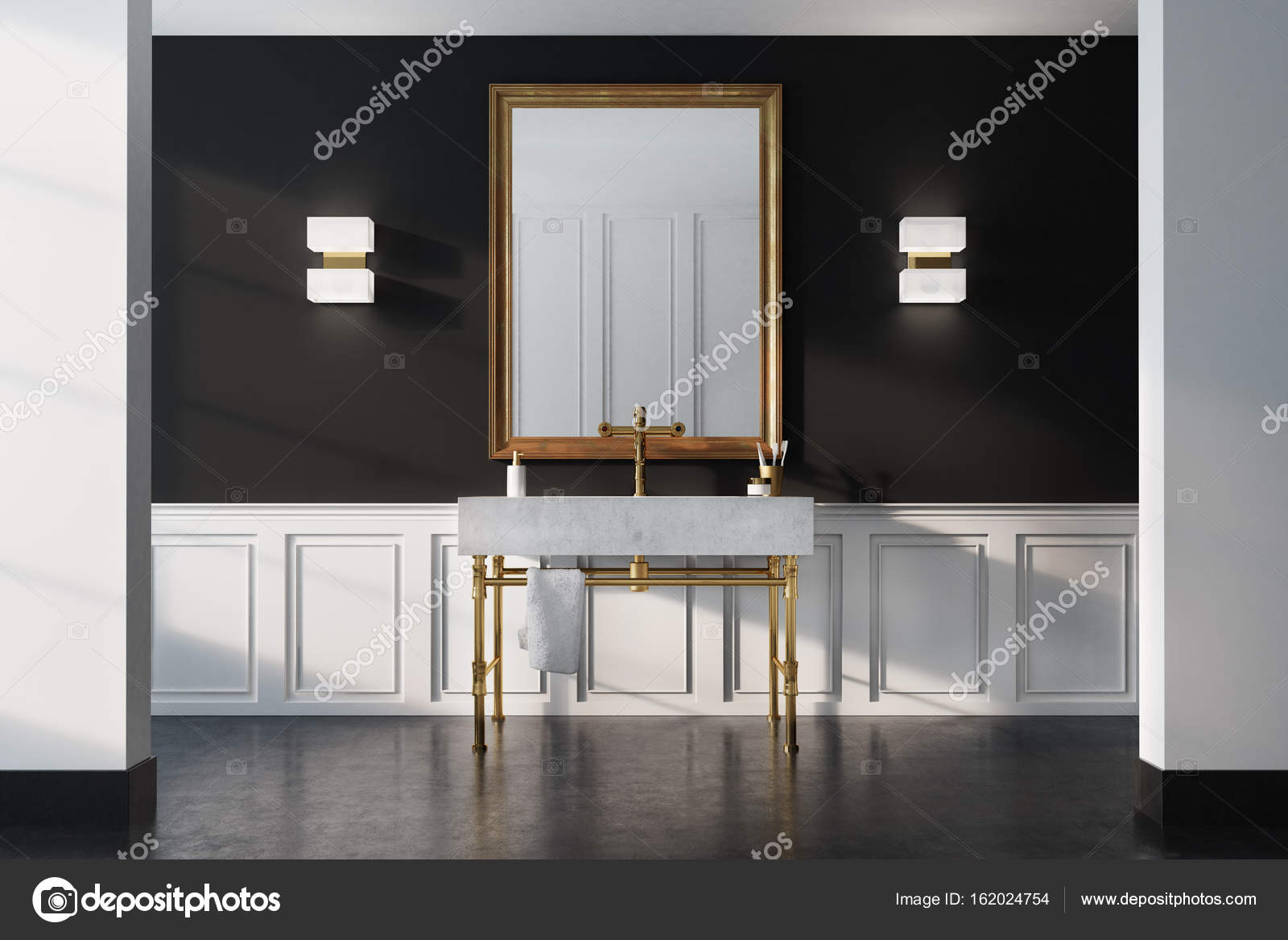 Luxus Badezimmer Interieur Schwarze Wand Stockfoto