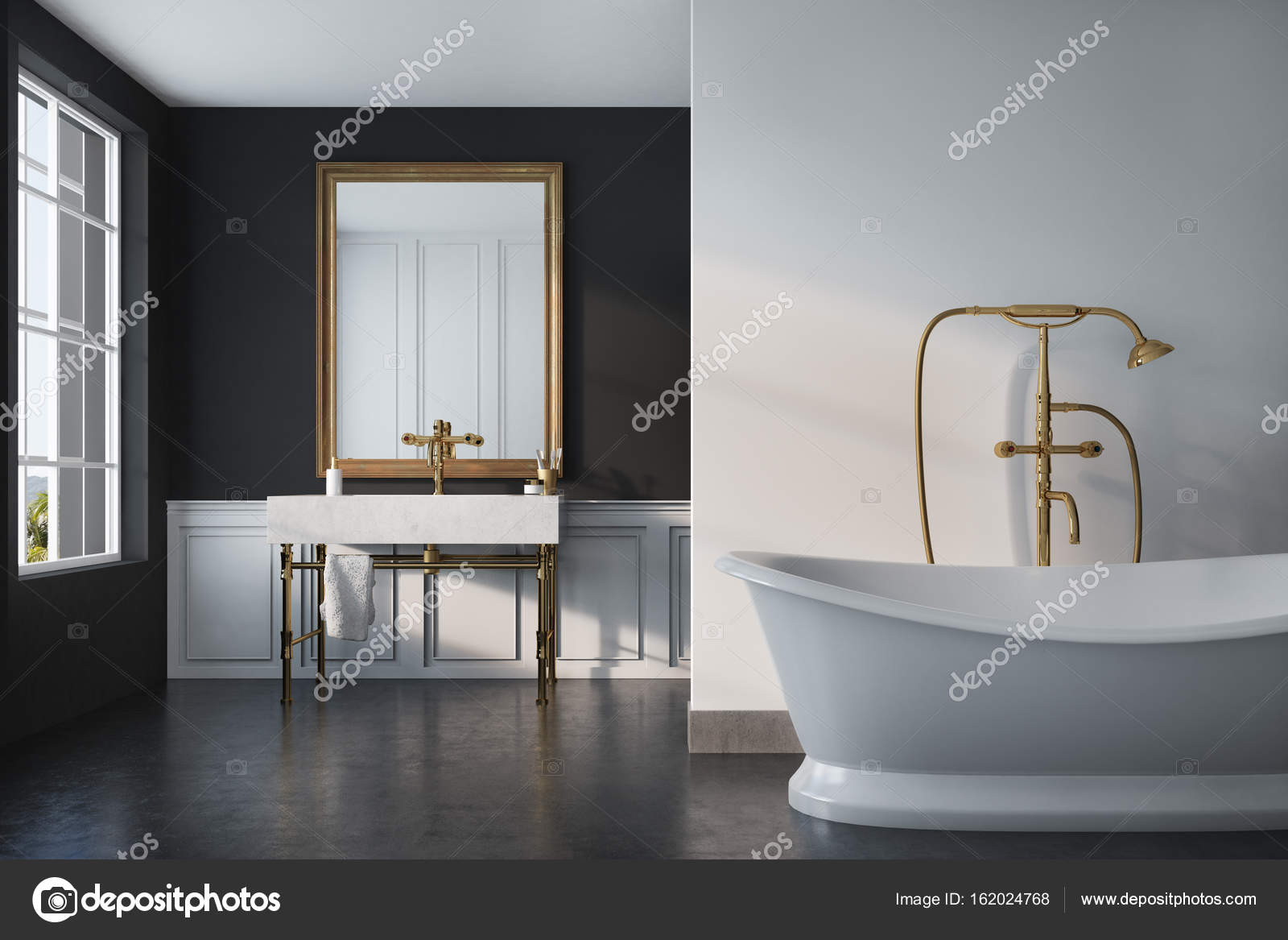 Schwarze Vintage Bad, weiße Wanne, Waschbecken — Stockfoto ...