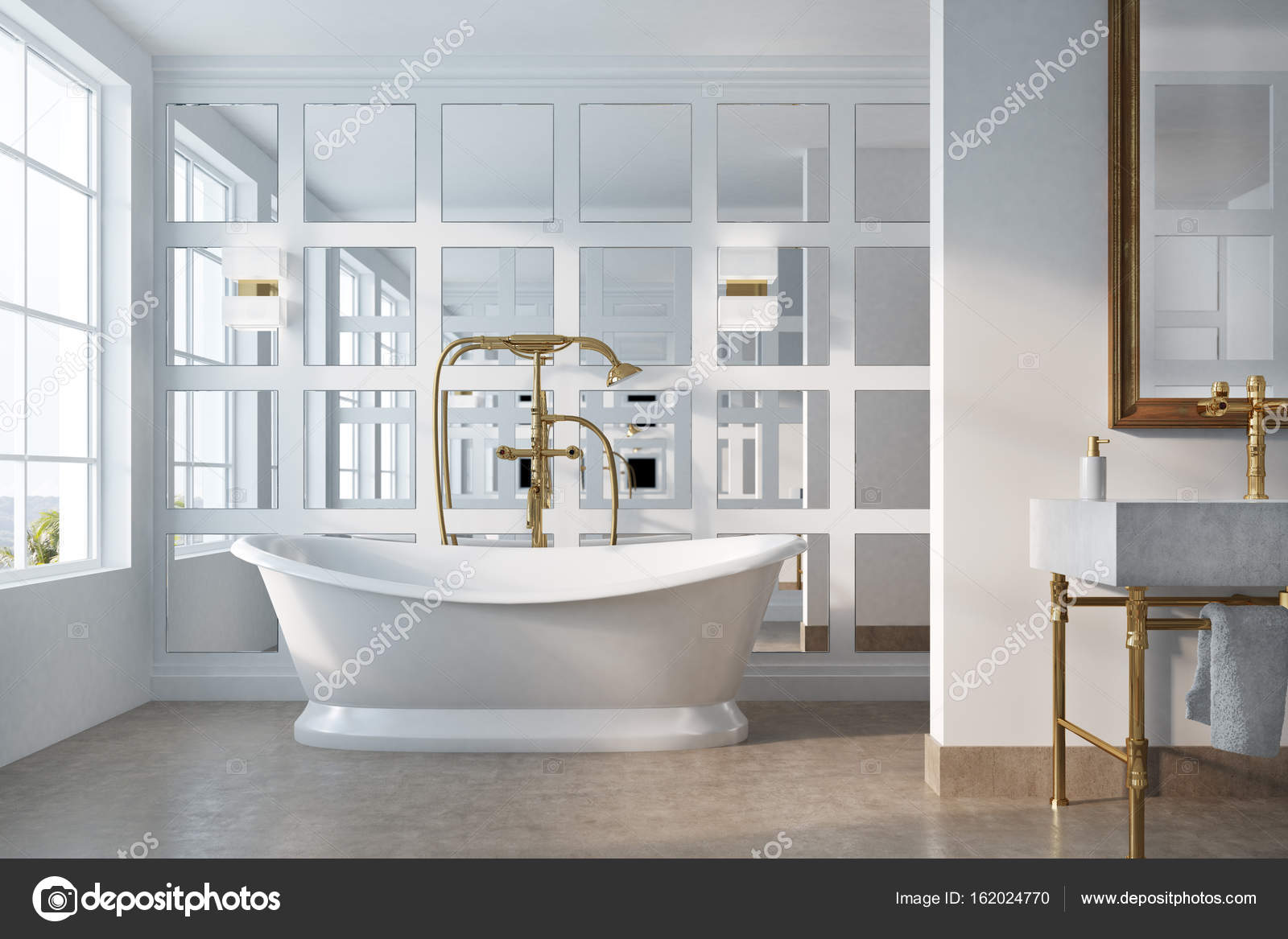 Bagno vintage vasca bianca specchio foto stock denisismagilov 162024770 - Vasca da bagno retro ...