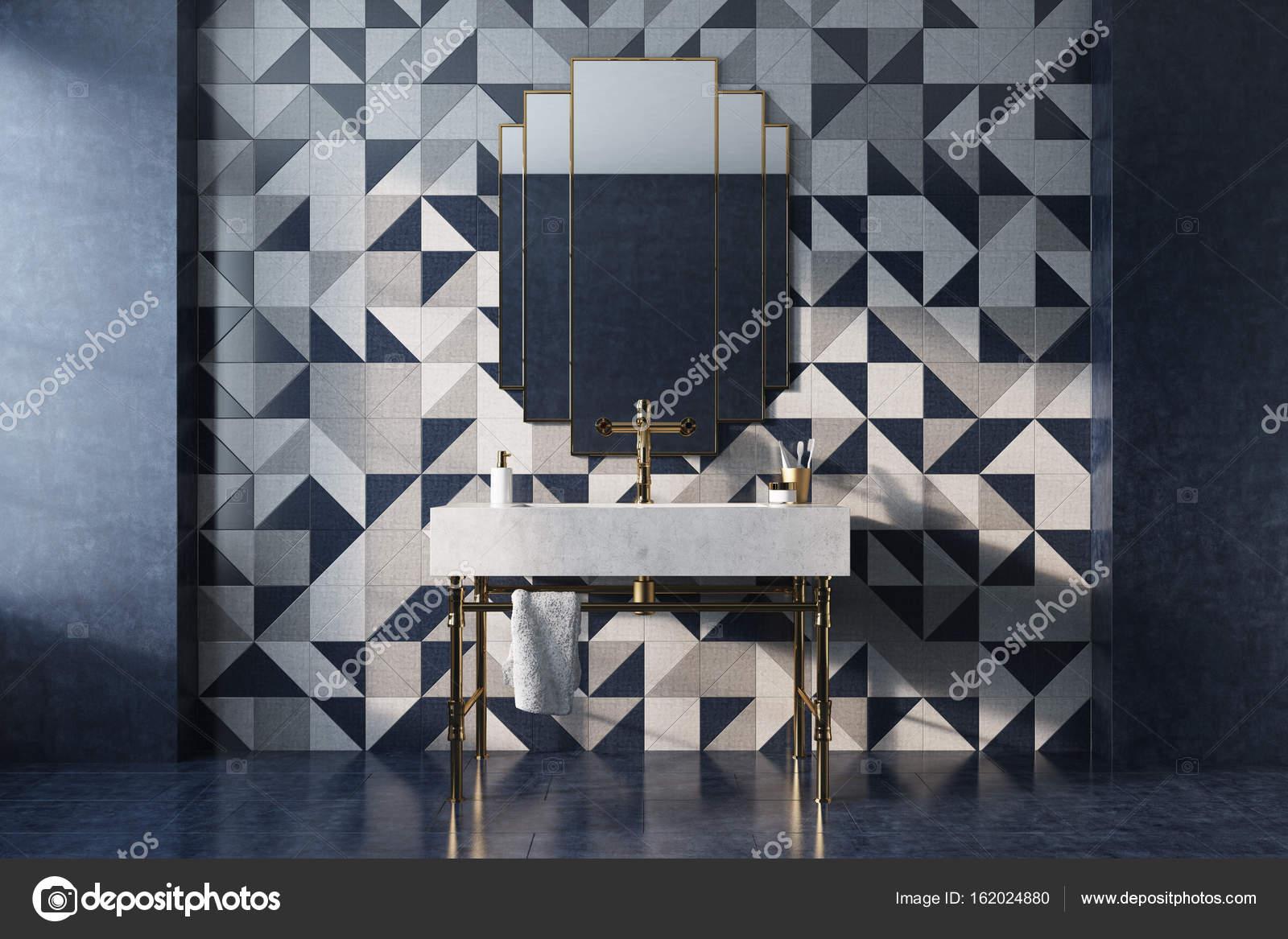 Parete Mosaico Bagno : Parete mosaico interna bagno di lusso u foto stock