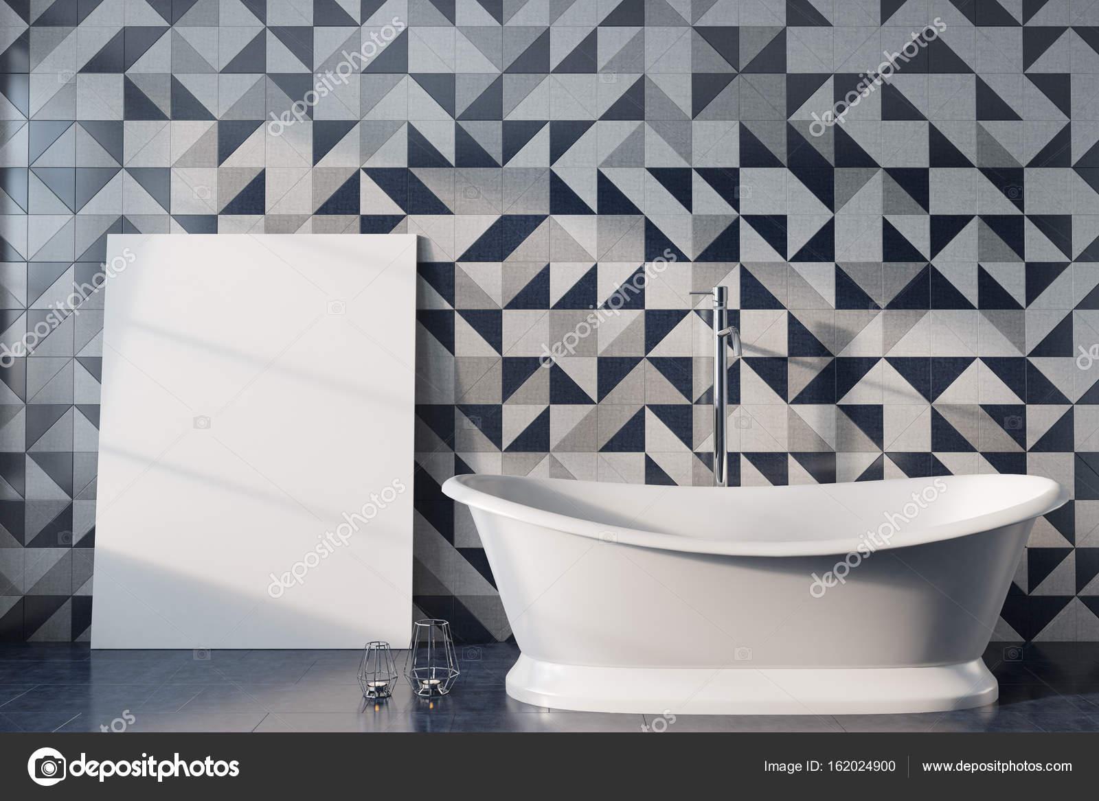 Mosaïque salle de bain, baignoire blanche, affiche ...