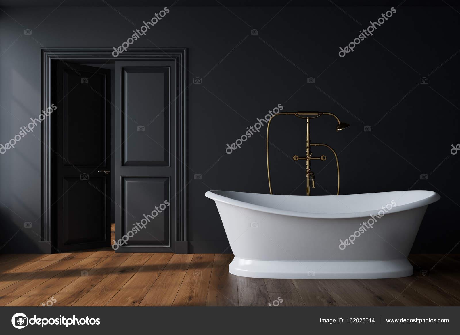 Zwarte badkamer, witte tub — Stockfoto © denisismagilov #162025014