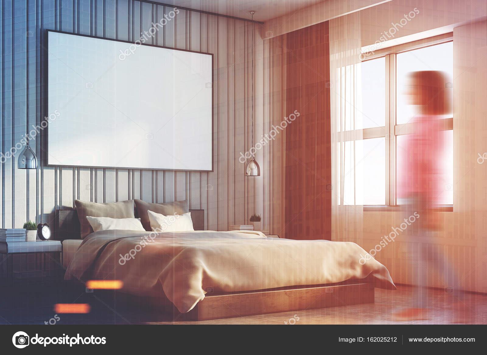 Grote Posters Slaapkamer : Beige slaapkamer met een grote poster kant meisje u stockfoto