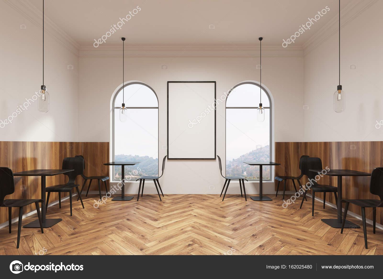 Moderne schwarze möbel café interieur plakat u stockfoto