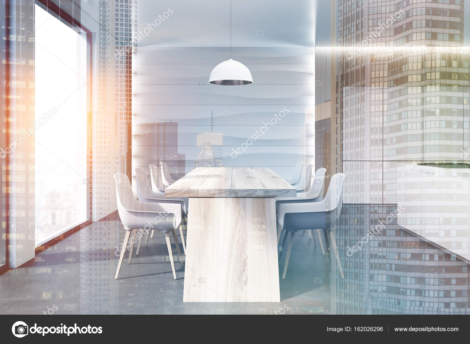 Wavy wall kitchen, table, counter double — Stock Photo ...
