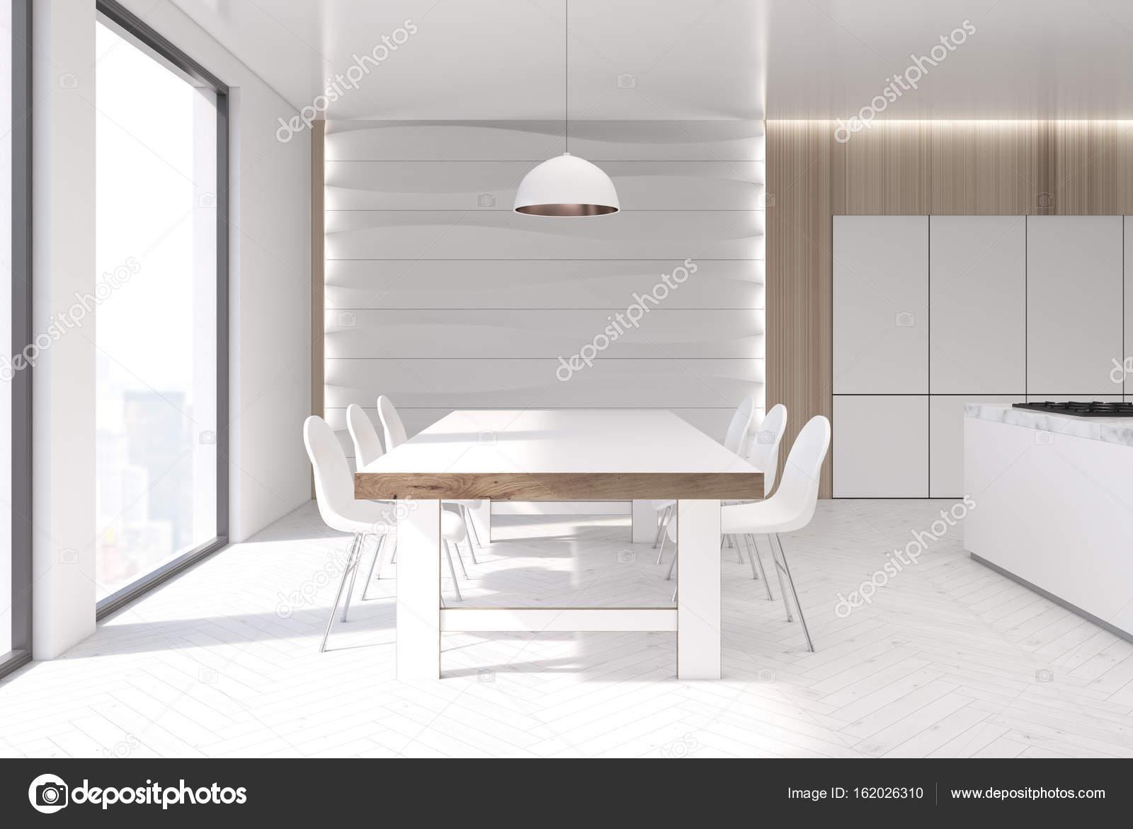 Wellenförmigen Wand Weiße Küche, Tisch, Theke U2014 Stockfoto