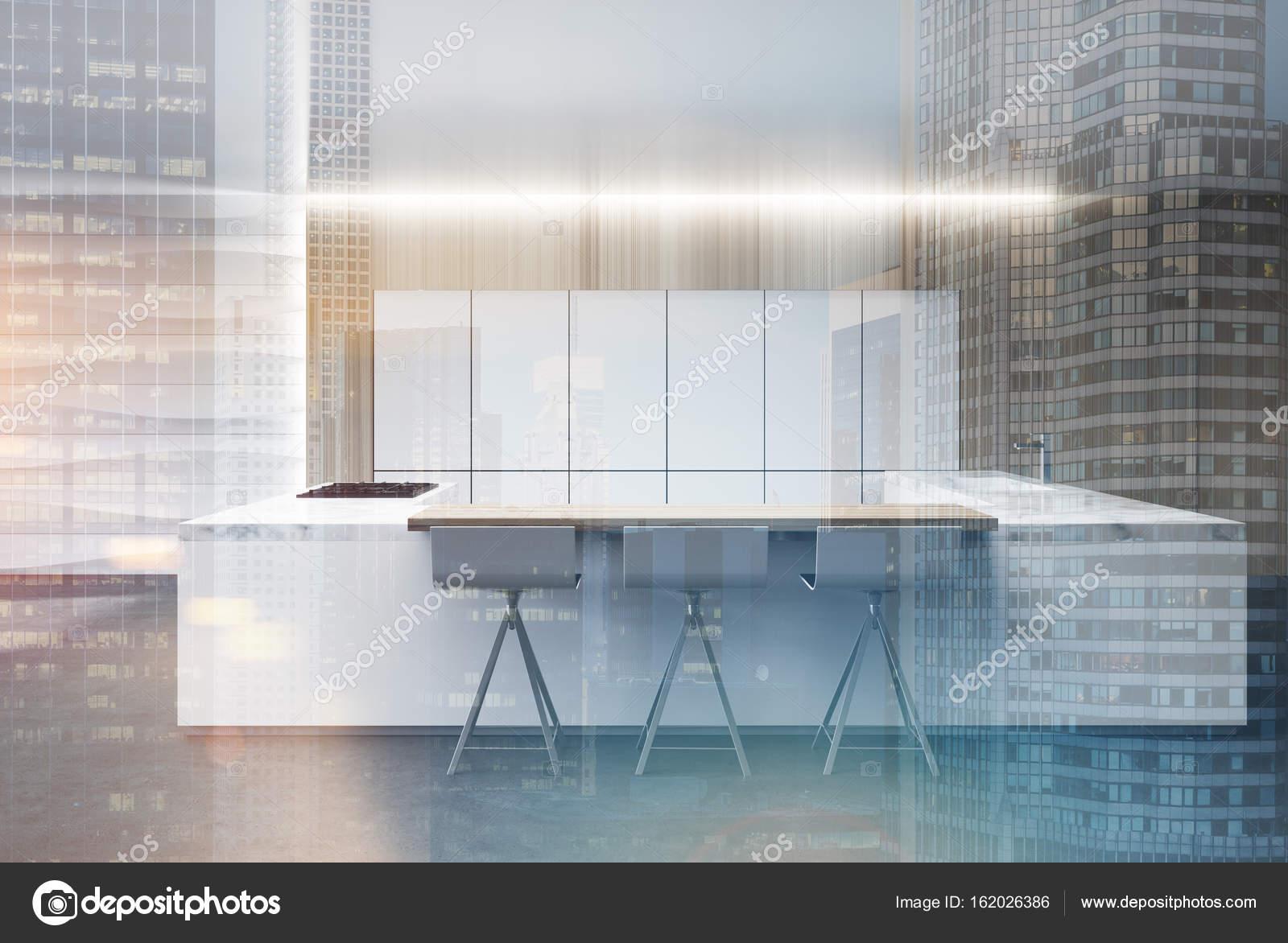 Cucina a muro ondulato, doppio banco di marmo — Foto Stock ...