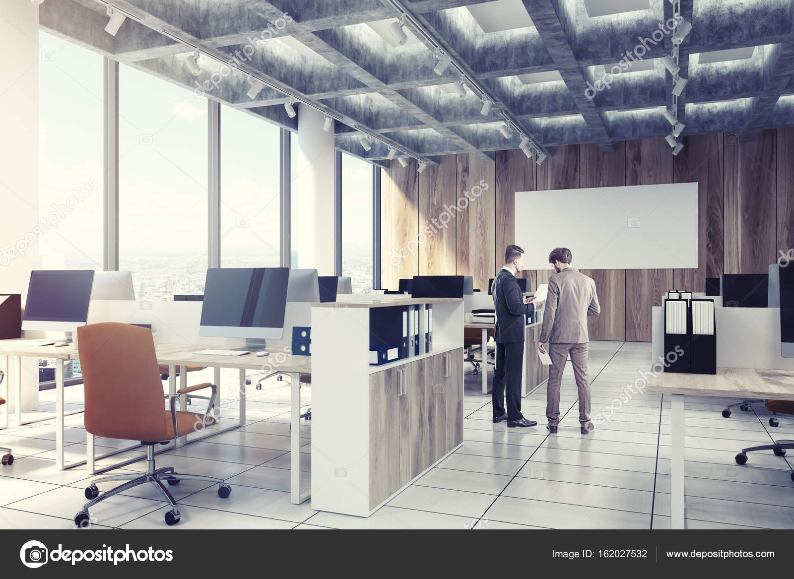 Light wooden open office, computers, men, side — Stock Photo ...