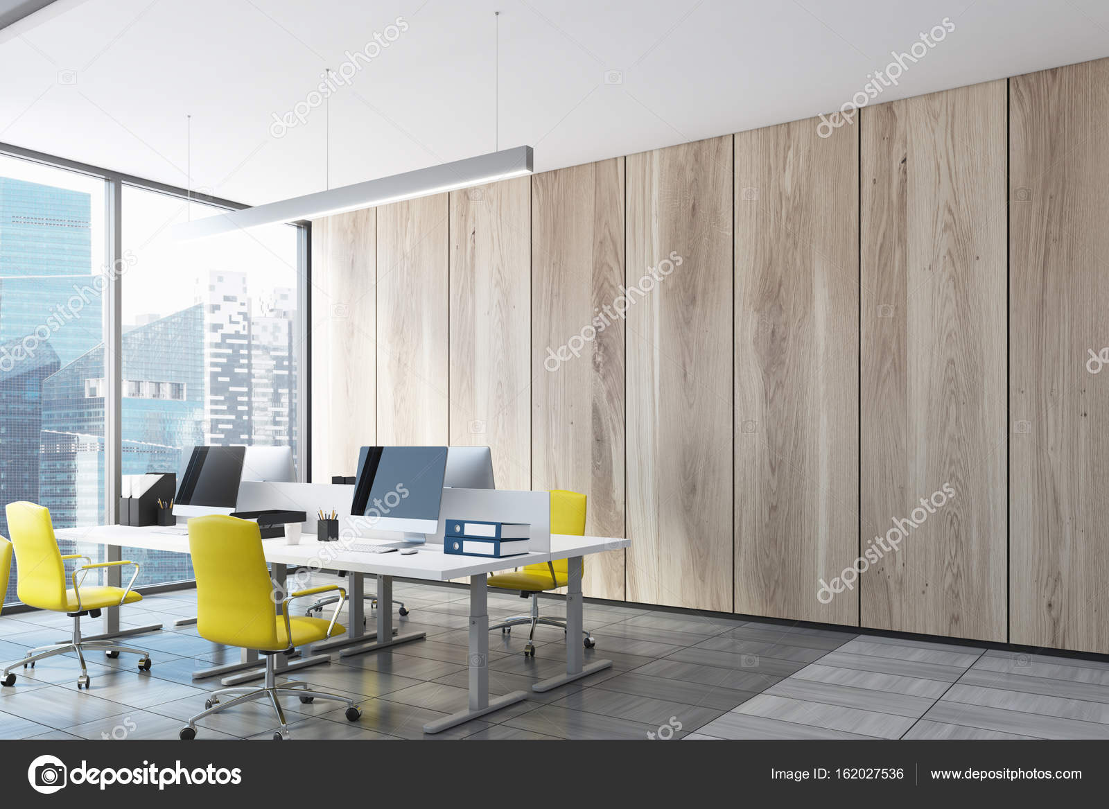 Ligth wooden open office, computers, side view — Stock Photo ...