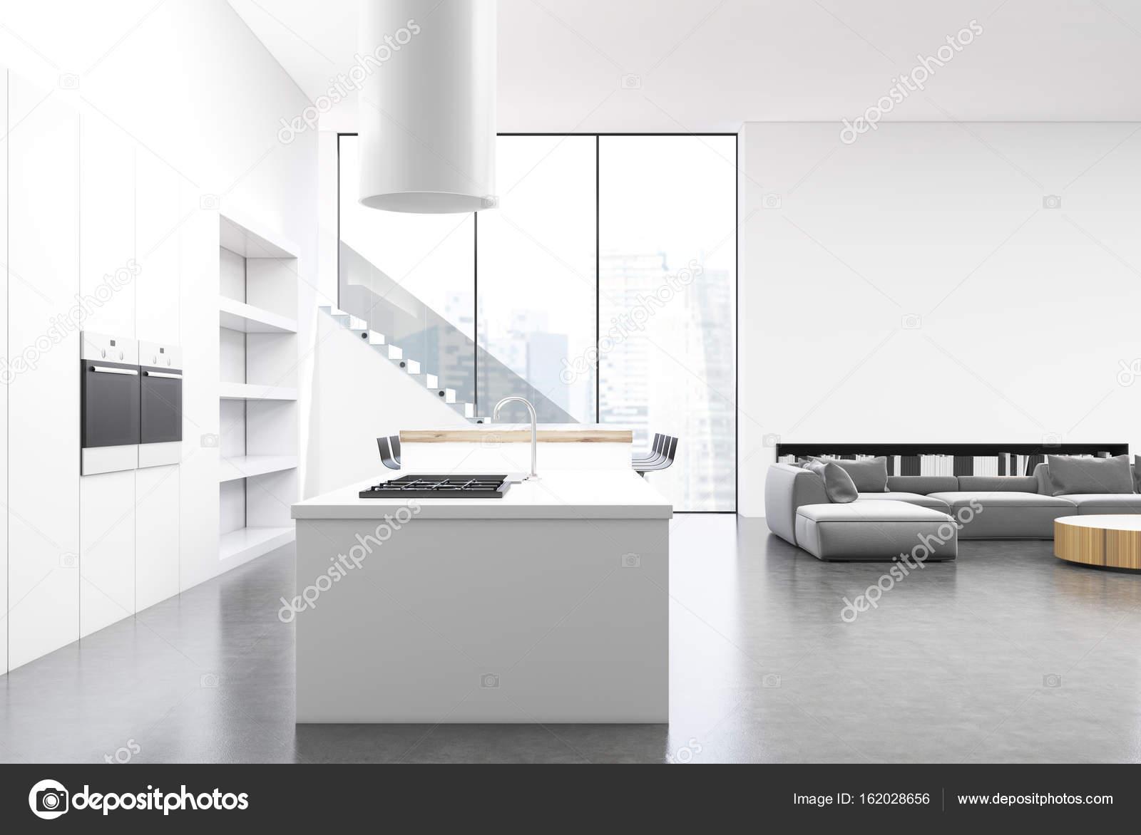 Weiße Küche Und Wohnzimmer, Ecke U2014 Stockfoto