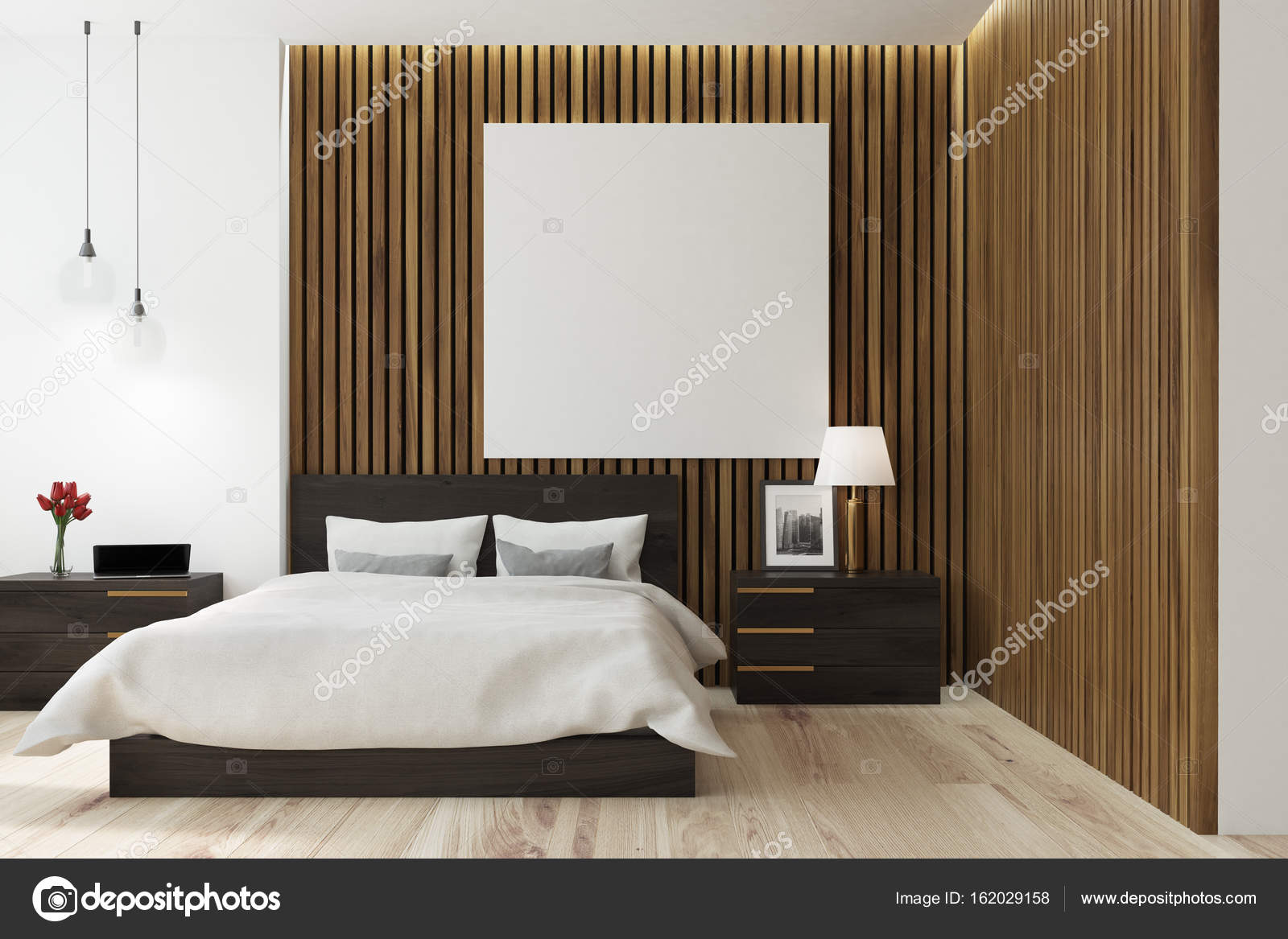 Poster quadrati in legno camera da letto — Foto Stock ...
