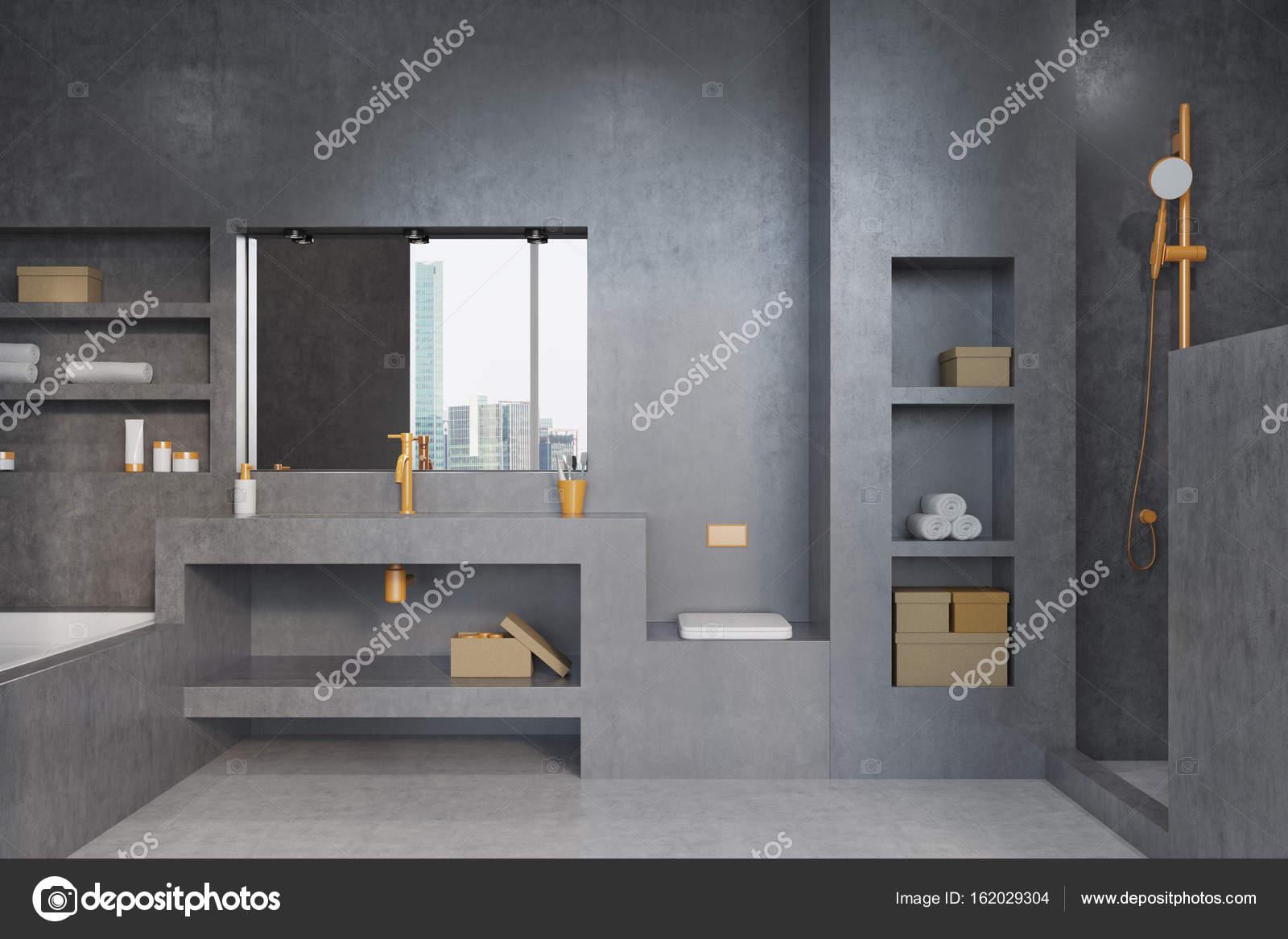 Graue Badezimmer Interieur Mit Eine Badewanne, Eine Dusche, Ein Regal, Ein  Spiegel Und Ein Schrank. Marmorboden, Modernes Design. Konzept Für Ein ...