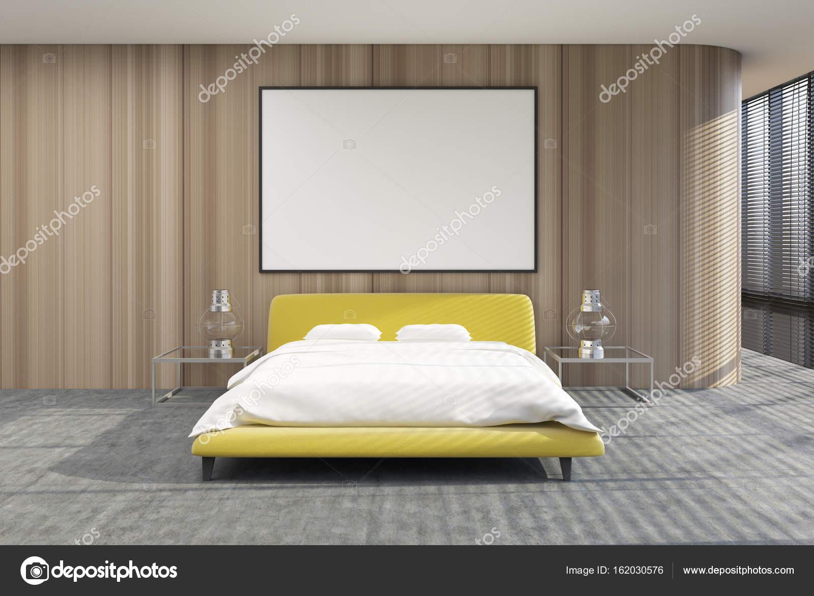 Loft slaapkamer interieur, tinten, geel bed poster — Stockfoto ...