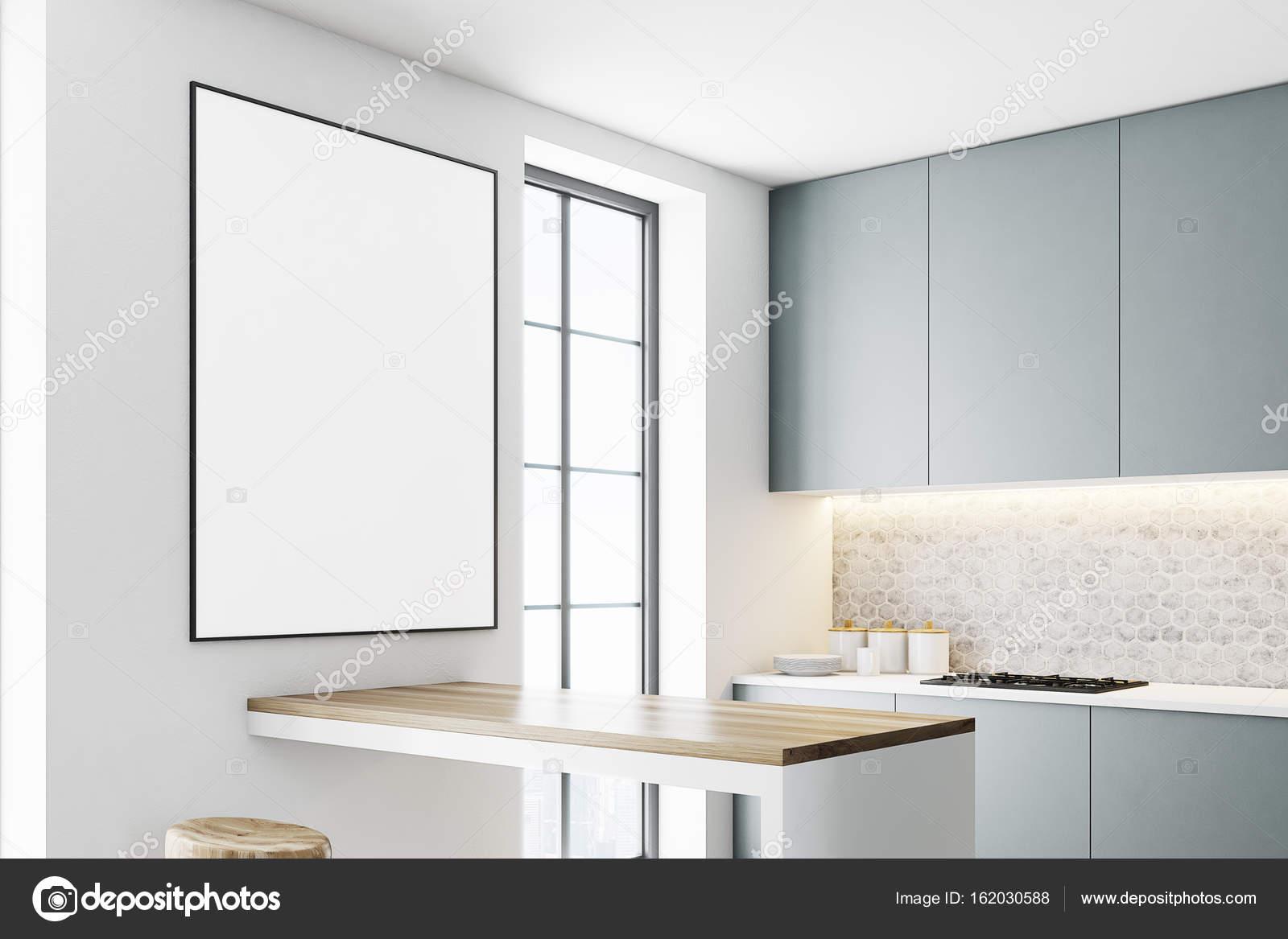 Graue Küche mit Arbeitsplatten, Plakat closeup — Stockfoto ...