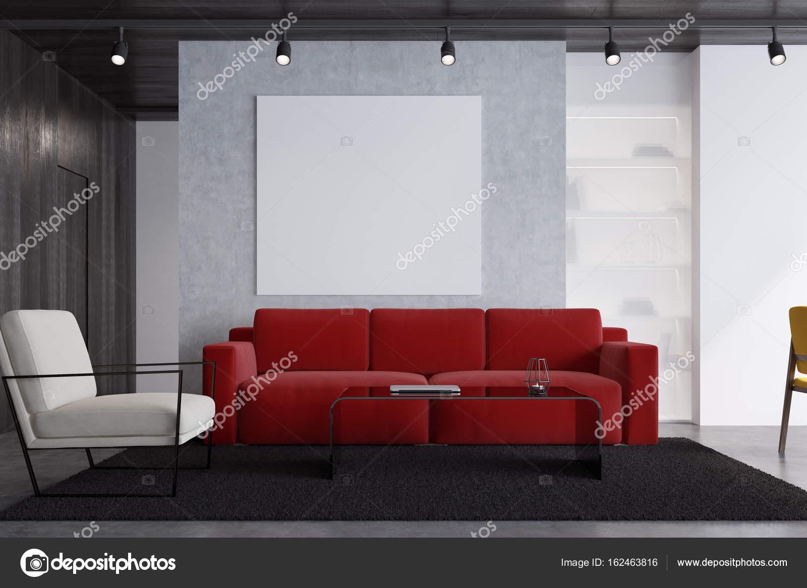 Sala De Estar Sof Vermelho Com Um Poster Close Up Stock Photo  -> Papel De Parede Para Sala Com Sofa Vermelho