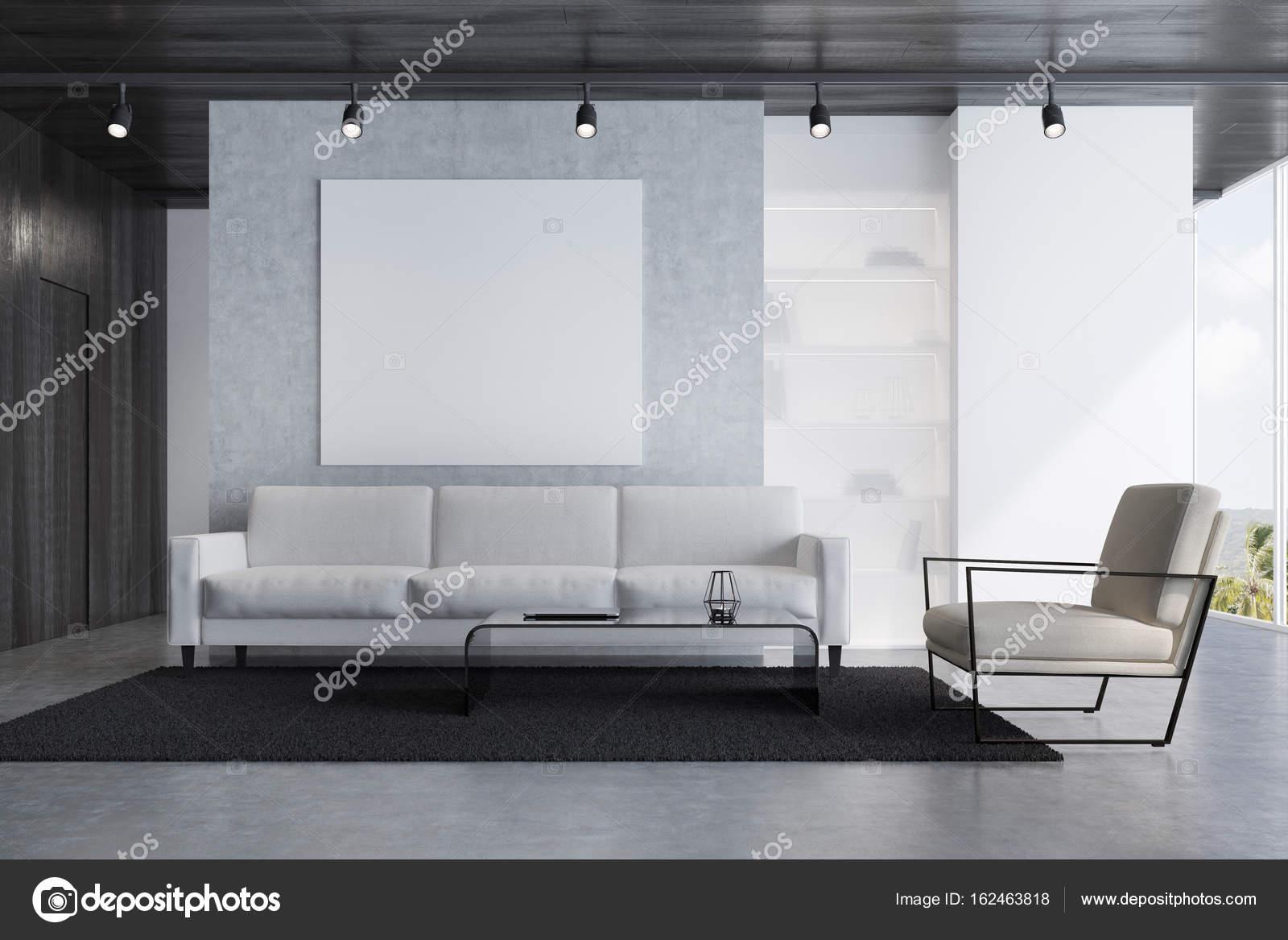 Woonkamer Grijze Bank : Elegante blauwe woonkamer withh grijze bank stock illustratie