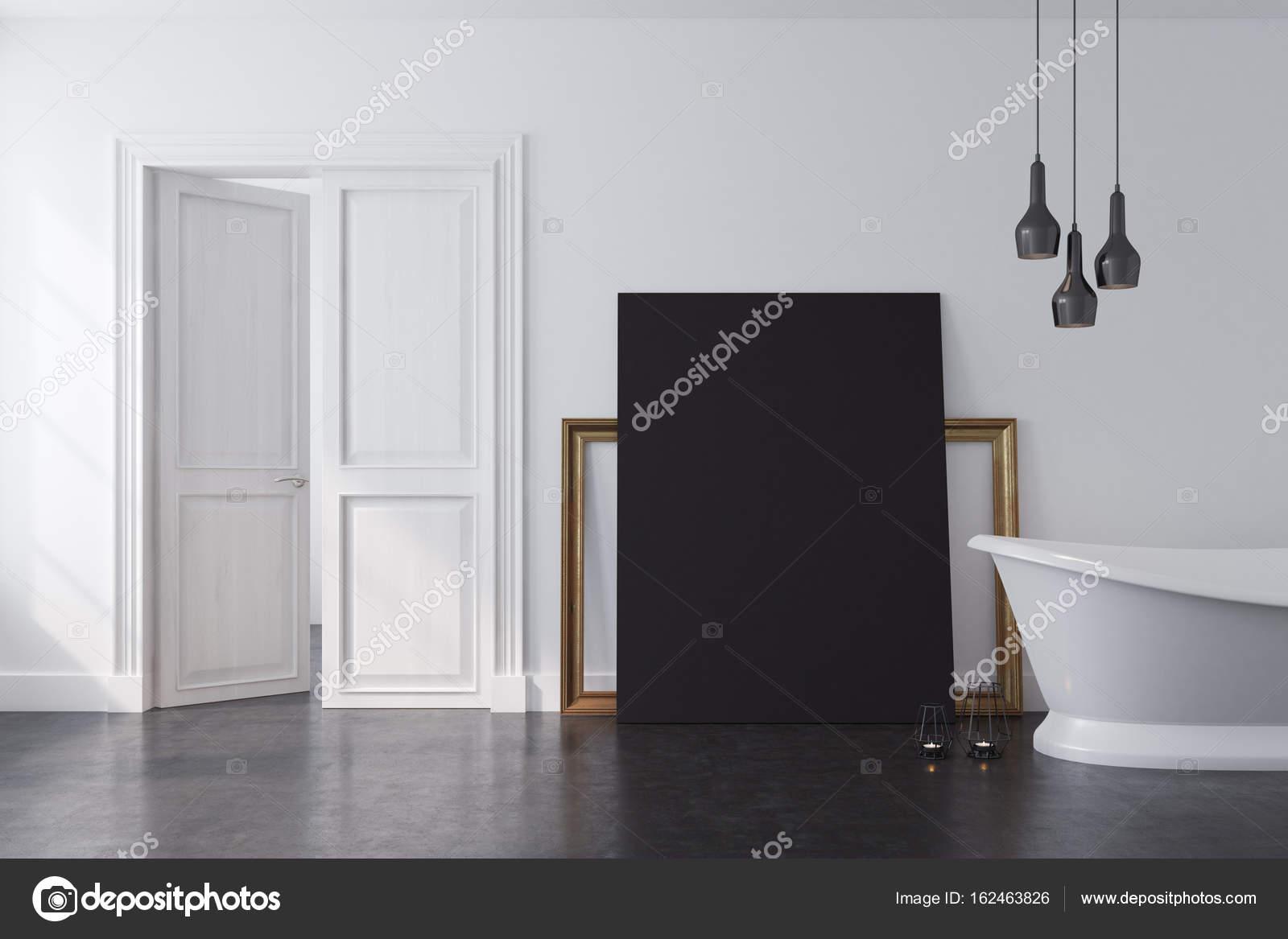 Weiße Badezimmer, schwarz poster — Stockfoto © denisismagilov #162463826