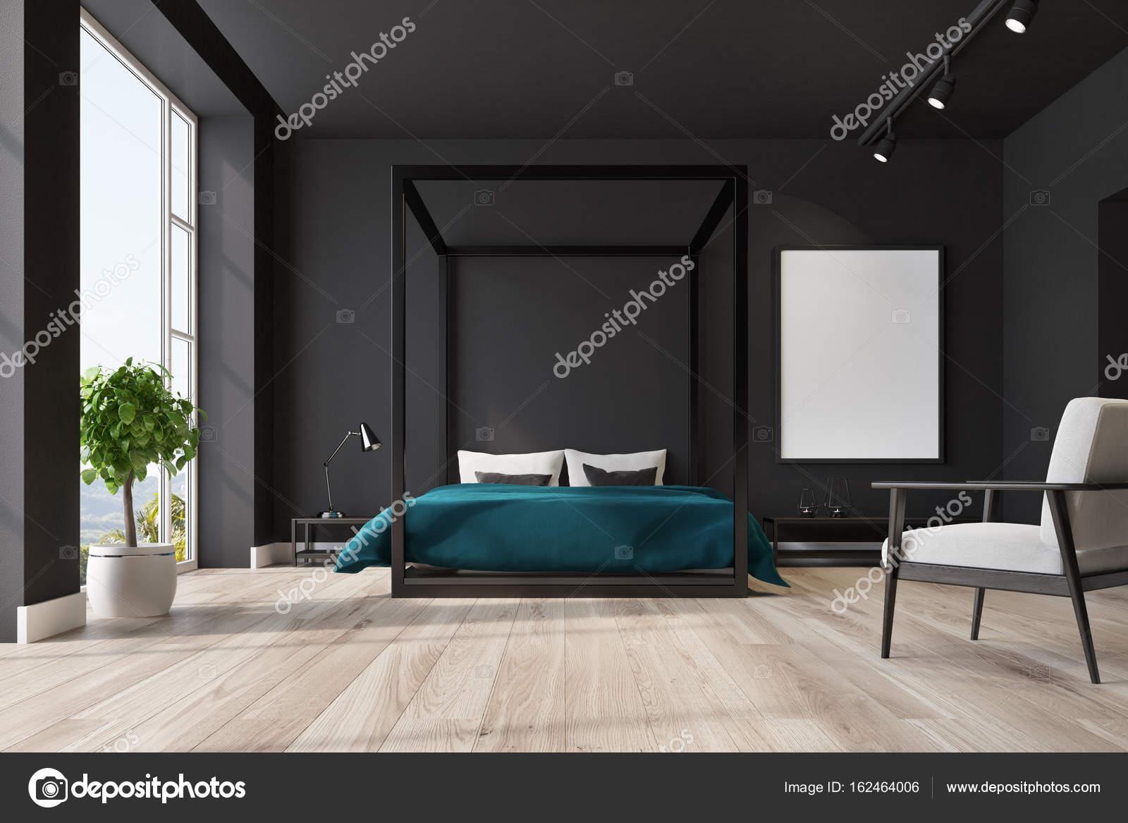 Schwarzen Schlafzimmer interior, poster — Stockfoto © denisismagilov ...