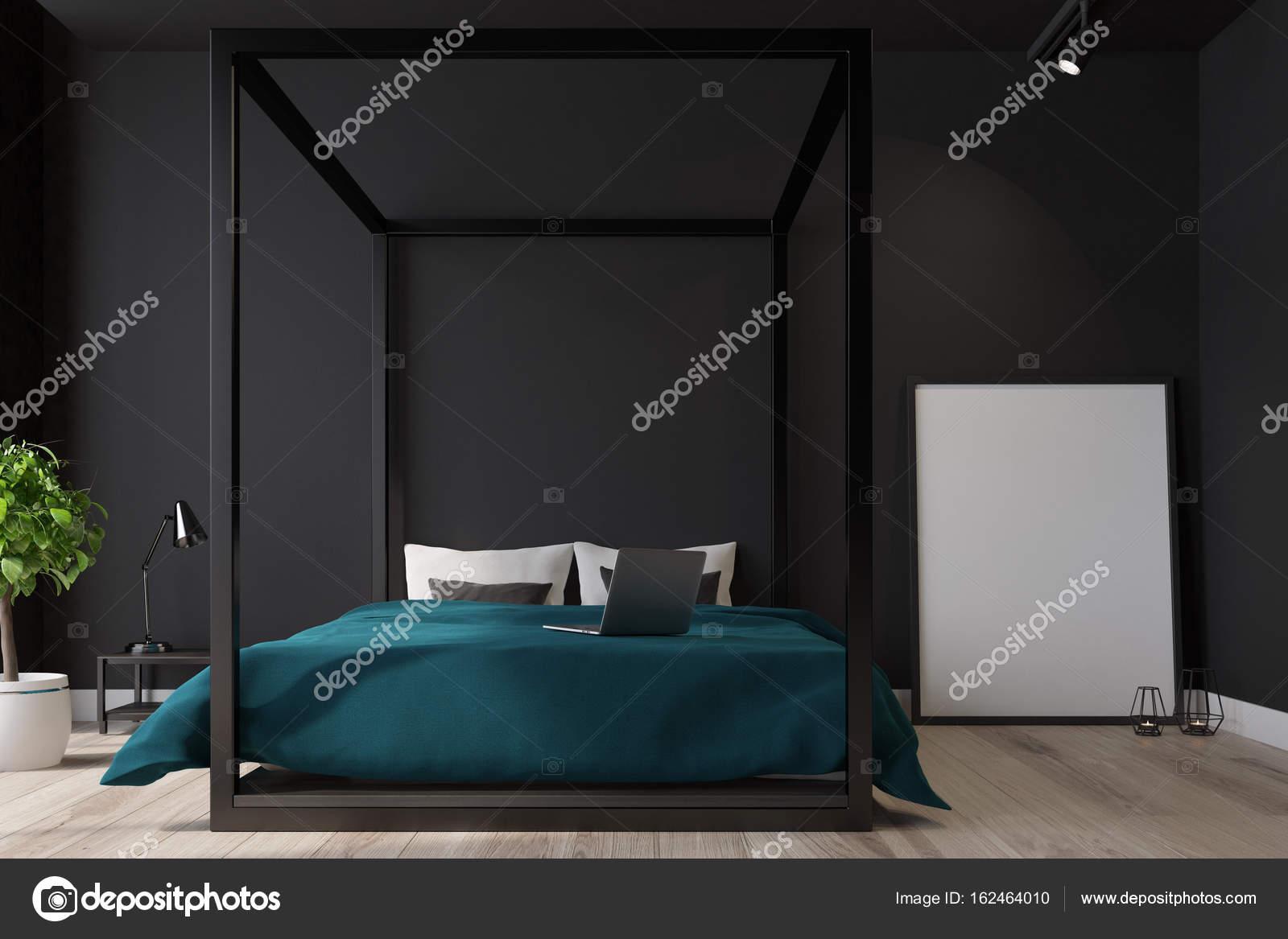 Interno camera da letto nera, manifesto chiuda — Foto Stock ...