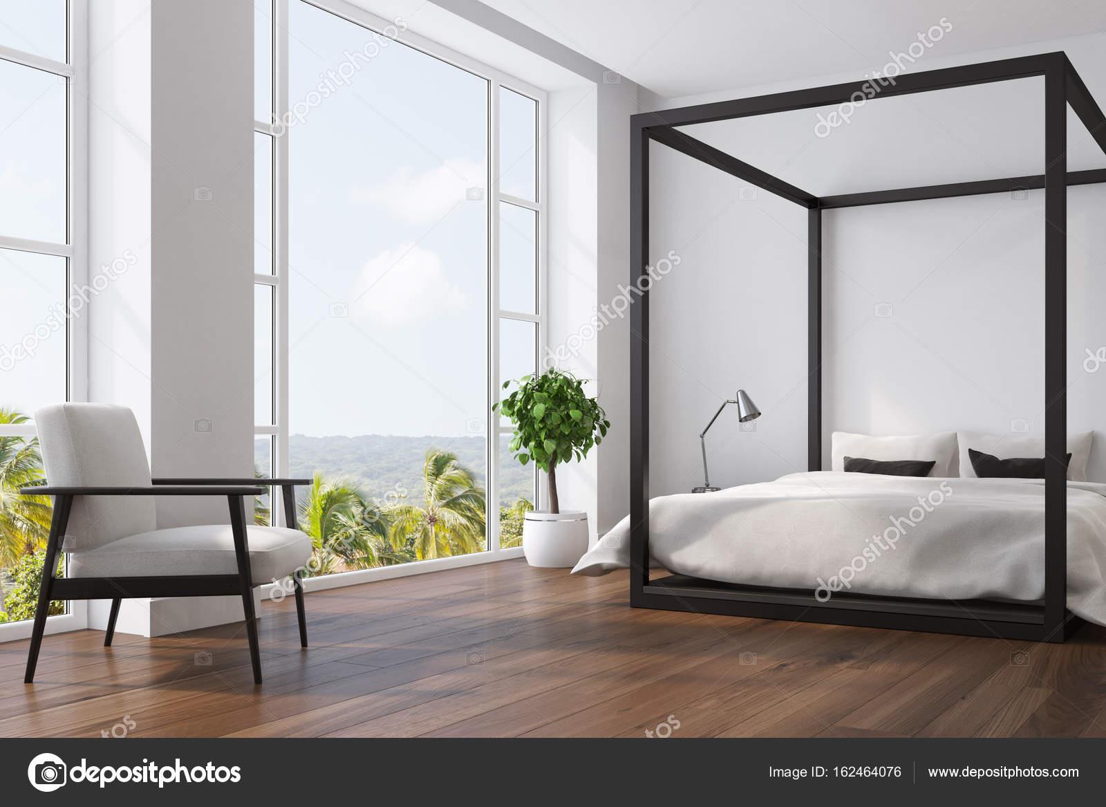 Wit slaapkamer interieur, boom, hoek — Stockfoto © denisismagilov ...