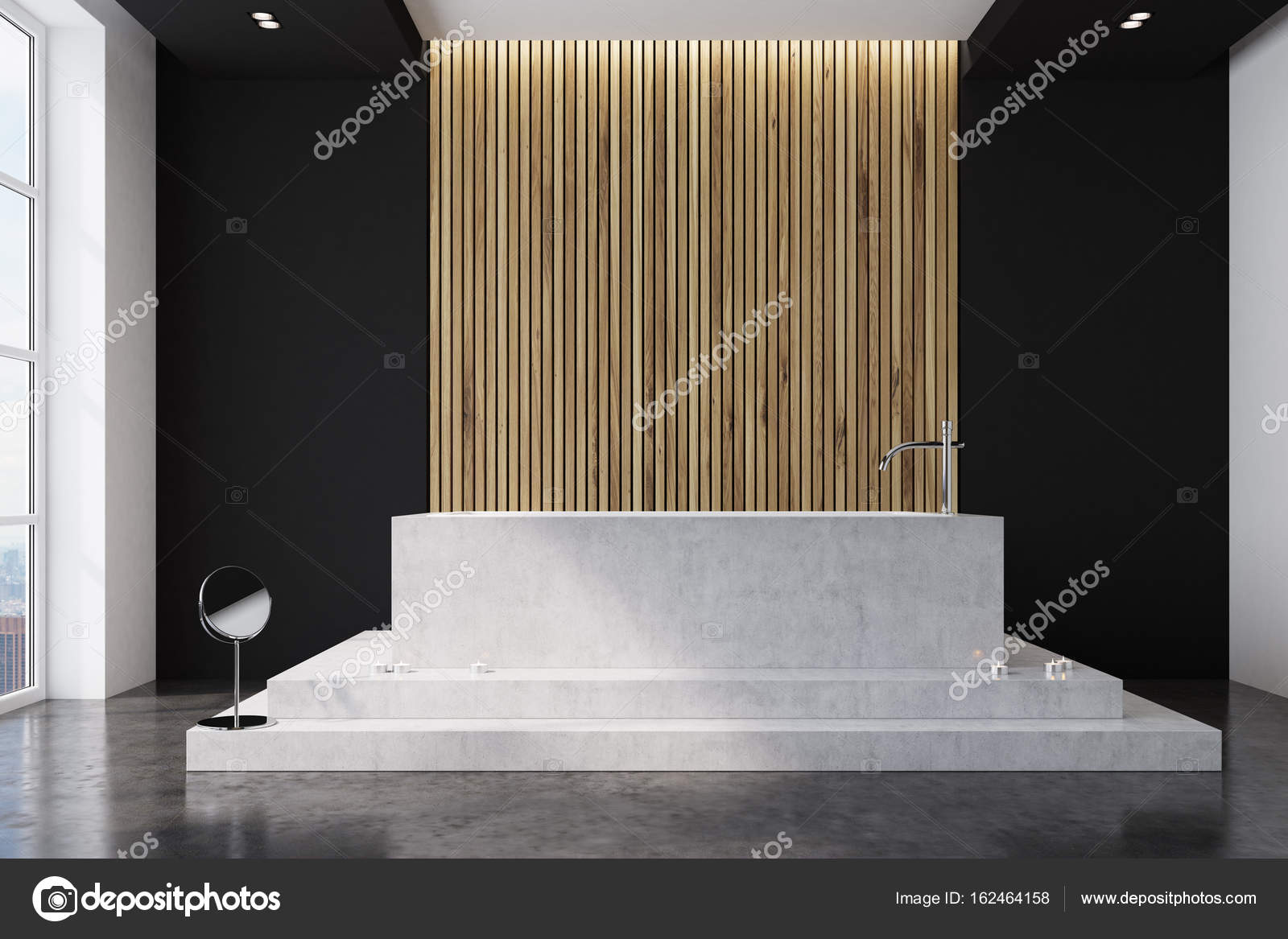 Zwart en houten badkamer rechthoekig u stockfoto denisismagilov