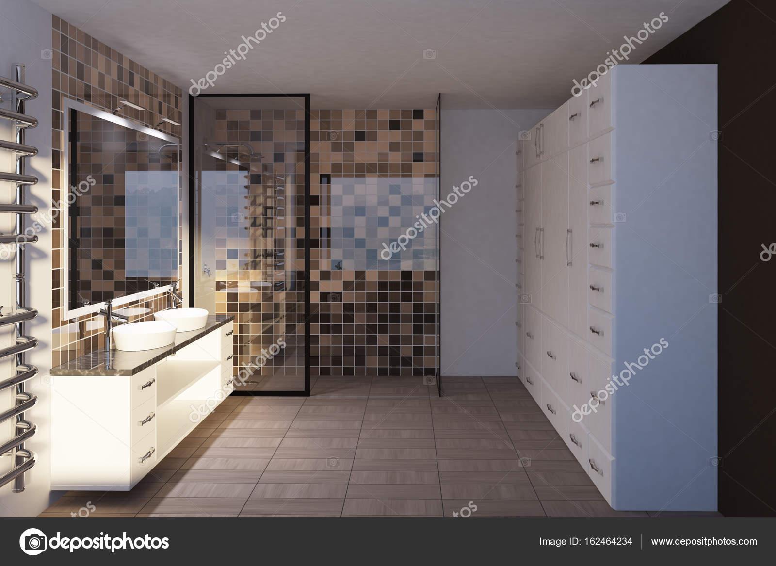 Beige Badezimmer Interieur Mit Zwei Waschbecken, Zwei Sätze Von Schubladen,  Ein Großer Spiegel Und Eine Dusche Mit Einer Glaswand. Seitenansicht.