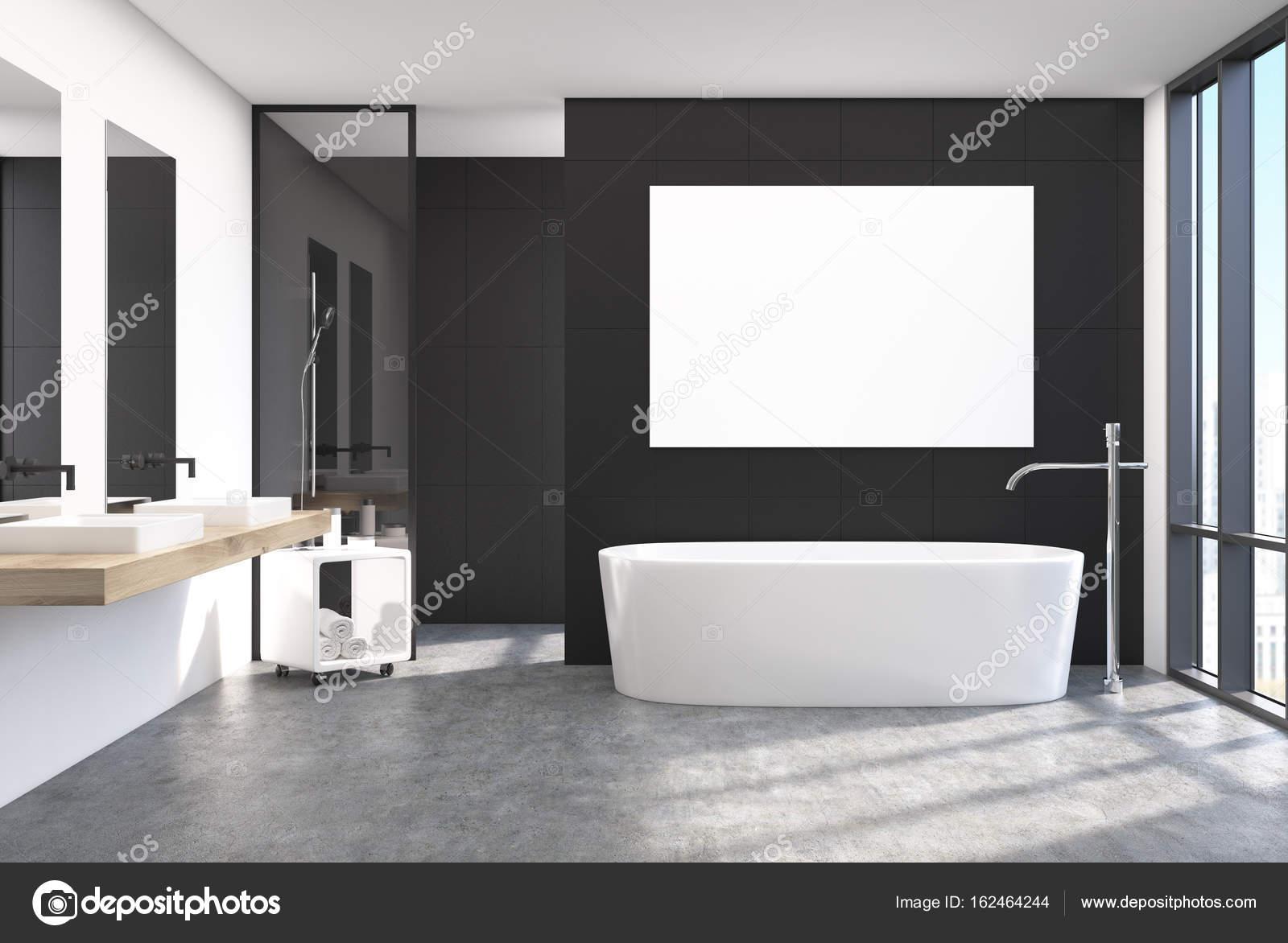 Nowoczesna łazienka Czarne Wnętrze Plakat Zdjęcie