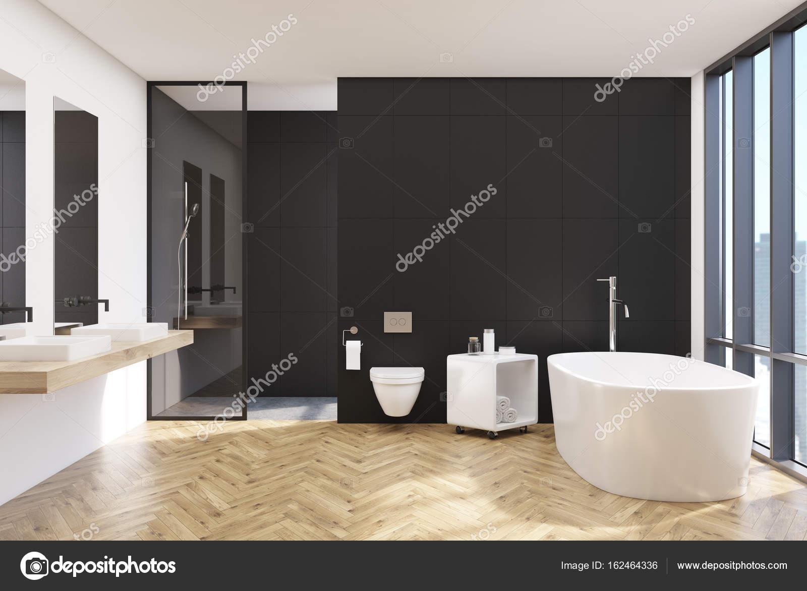 Moderne zwarte badkamer interieur toilet u stockfoto
