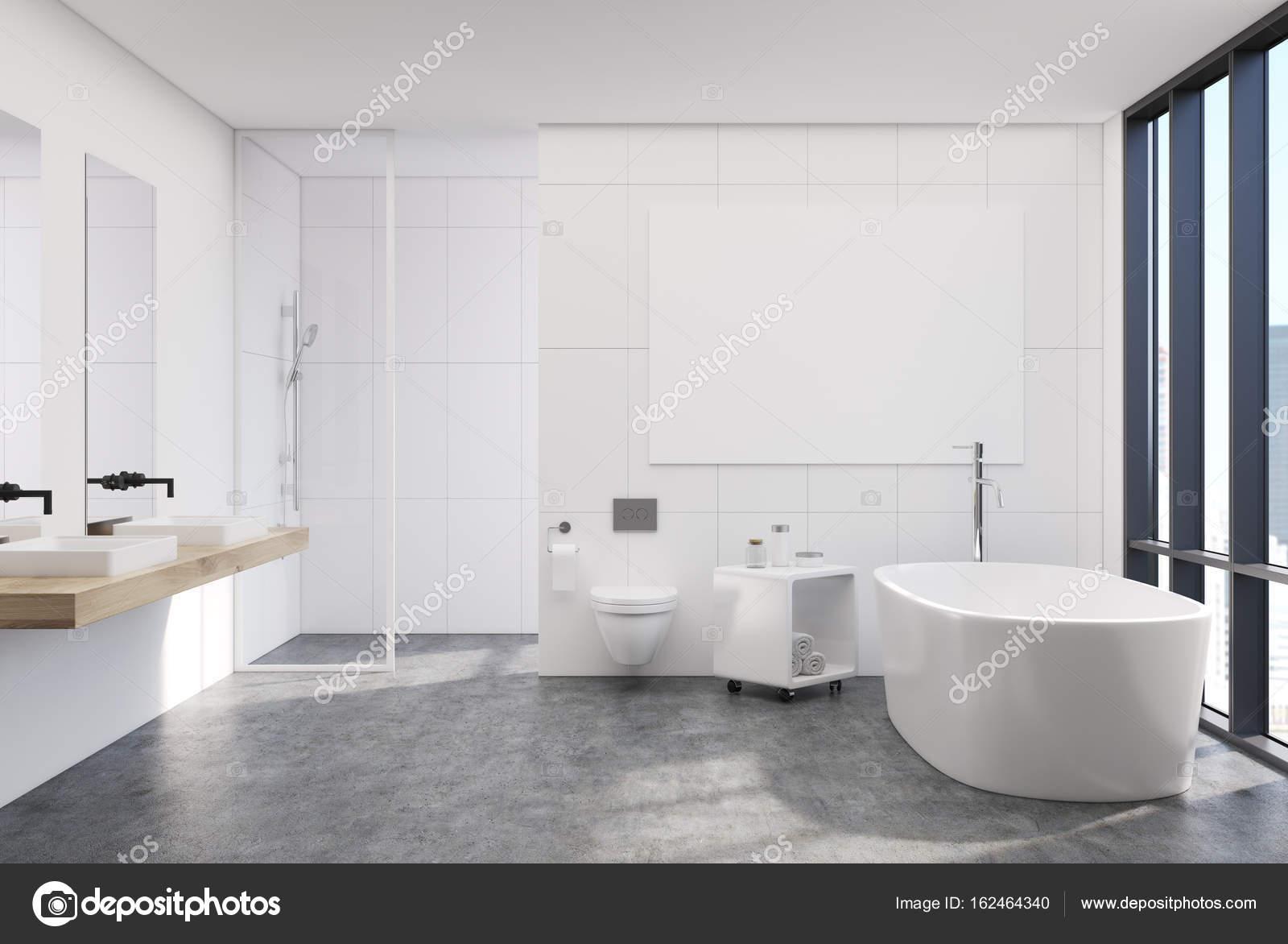 Affiche intérieure, salle de bains moderne blanc — Photographie ...