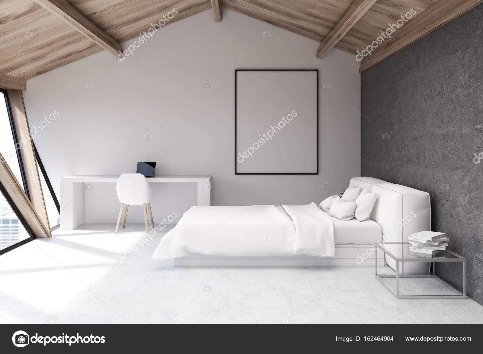 Biała Sypialnia Na Strychu Plakat Zdjęcie Stockowe