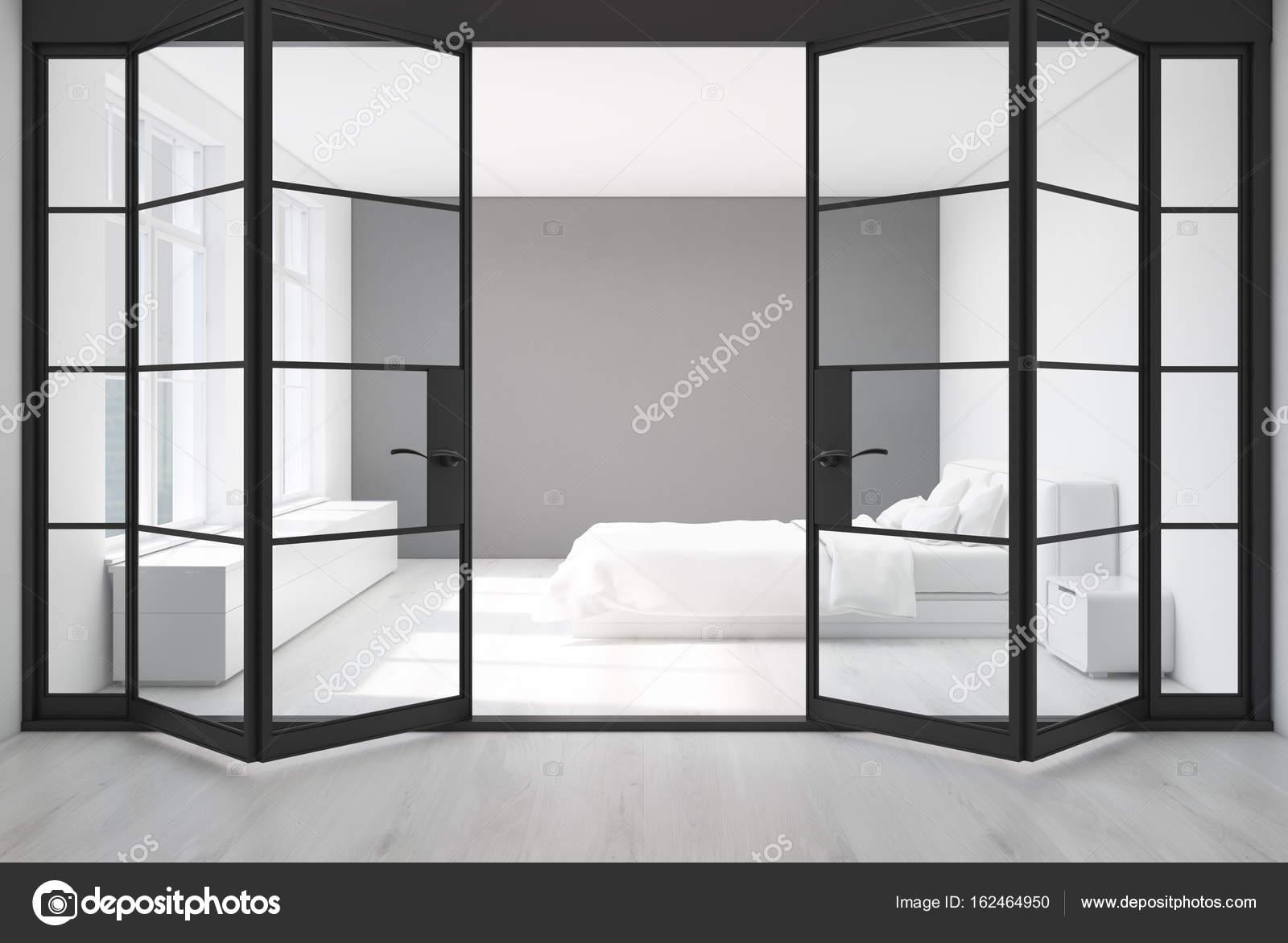 Wit slaapkamer, grijze muur, deuren — Stockfoto © denisismagilov ...