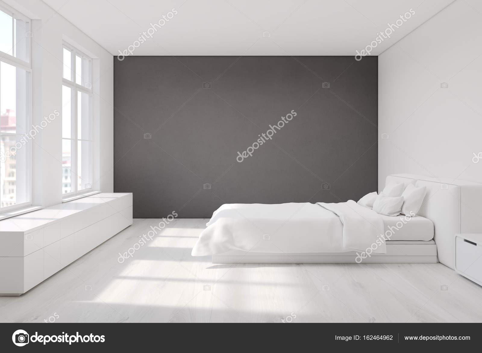 Chambre blanche avec un mur gris — Photographie denisismagilov ...