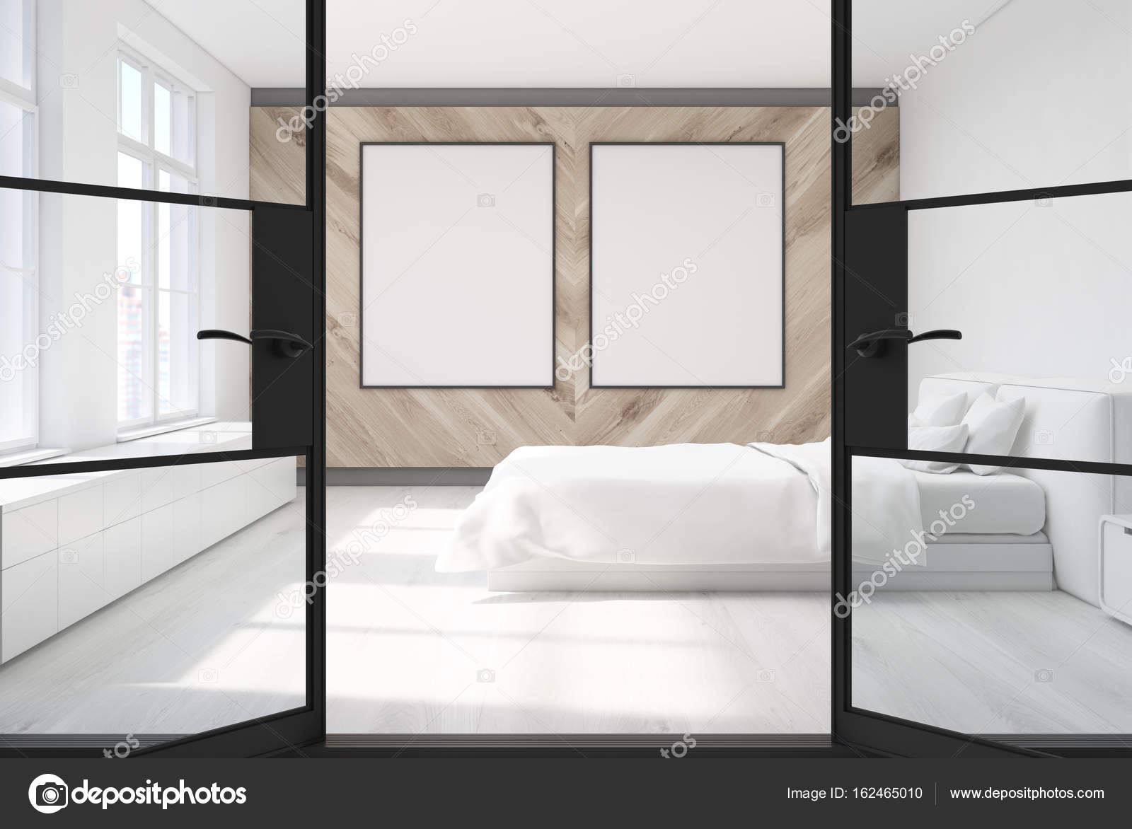Wooden bedroom, two posters, door — Stock Photo ...