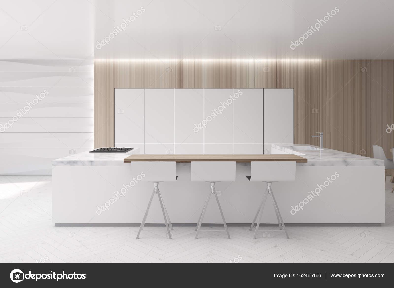 Cucina a muro ondulato, bancone di marmo — Foto Stock ...