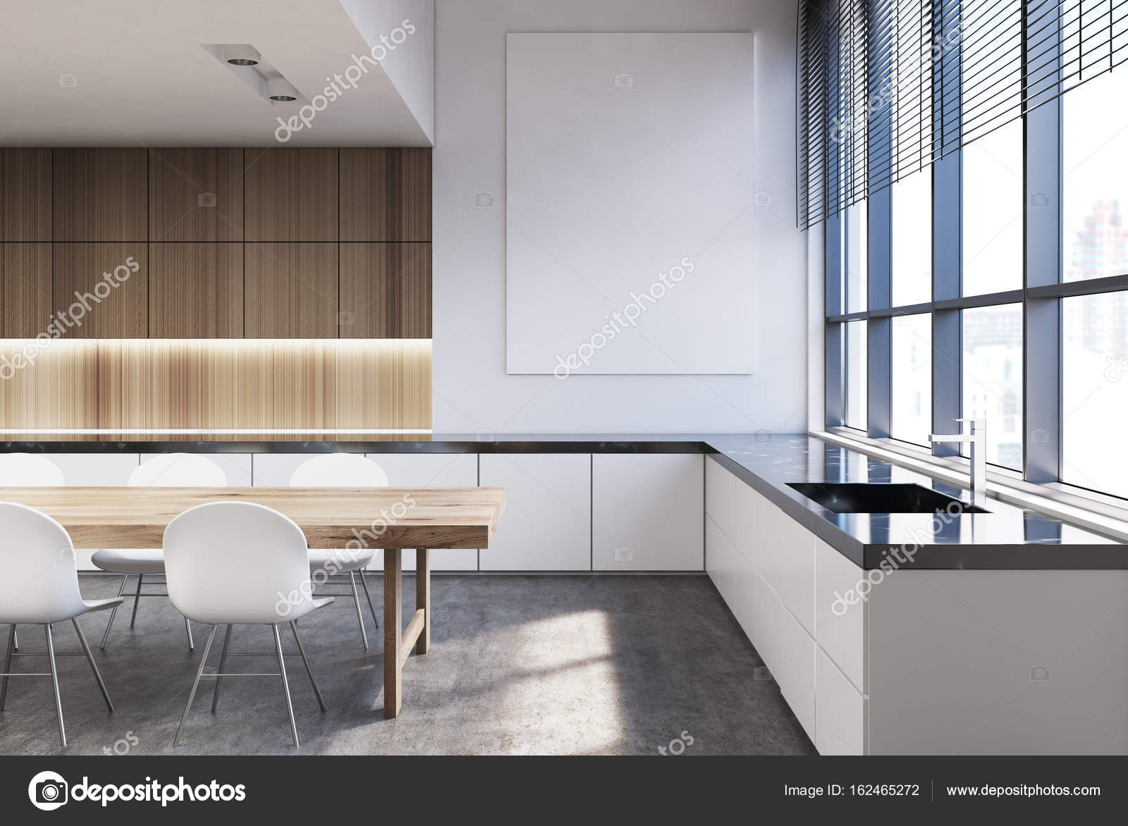 Küche aus Holz Interieur, dunklen Marmor — Stockfoto ...