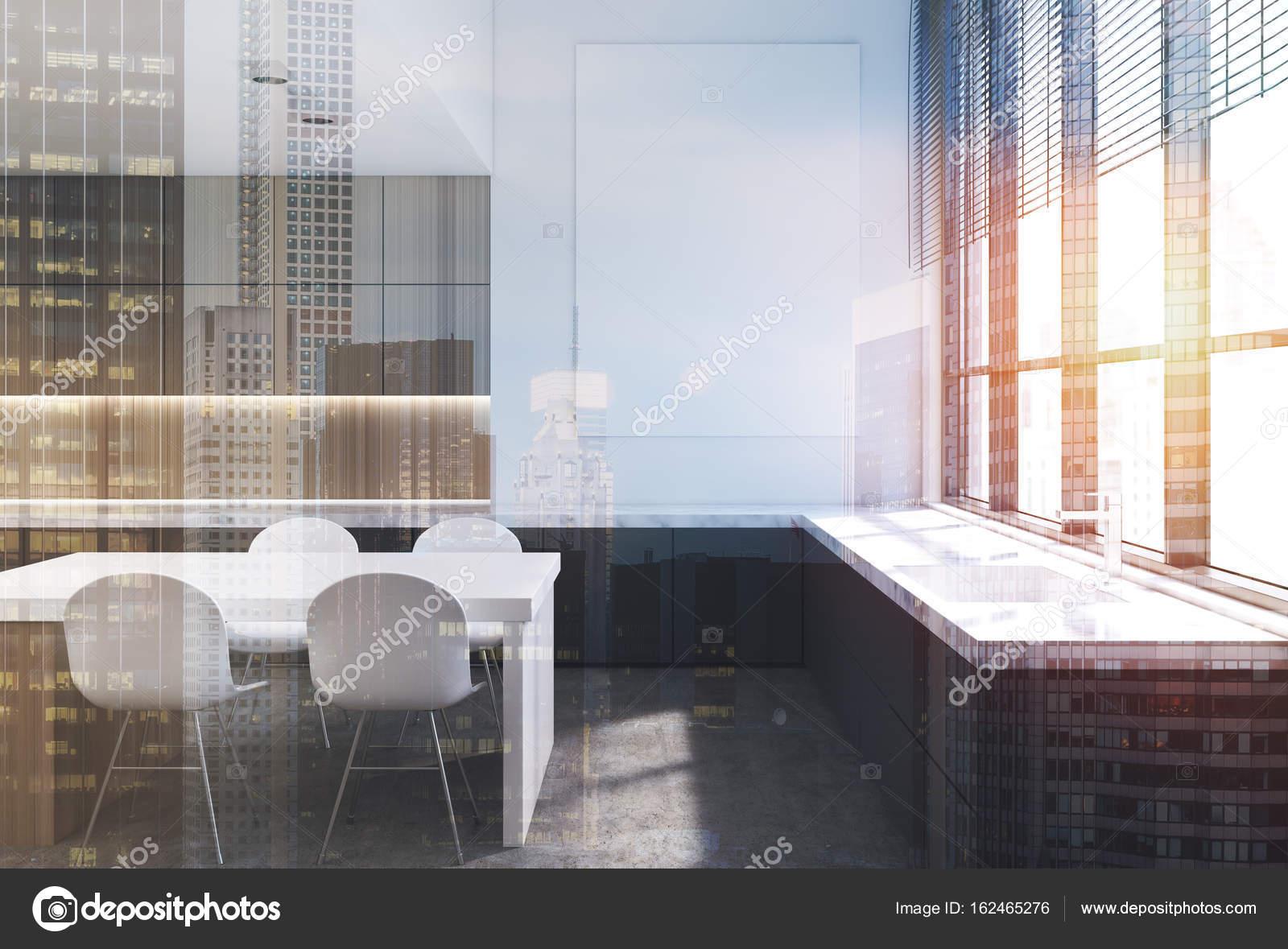 Hölzerne Interieur, Marmor Küchenarbeitsplatte Doppel — Stockfoto ...