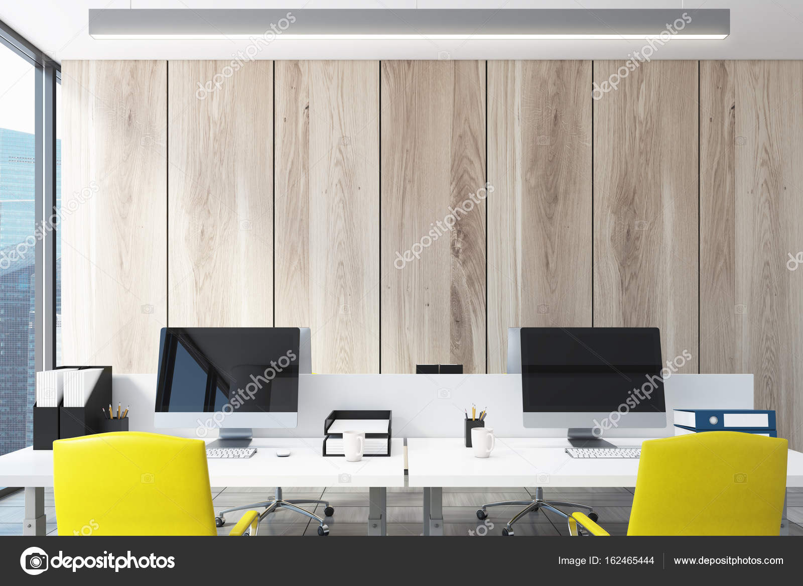 Light wooden open office, computers — Stock Photo © denisismagilov ...