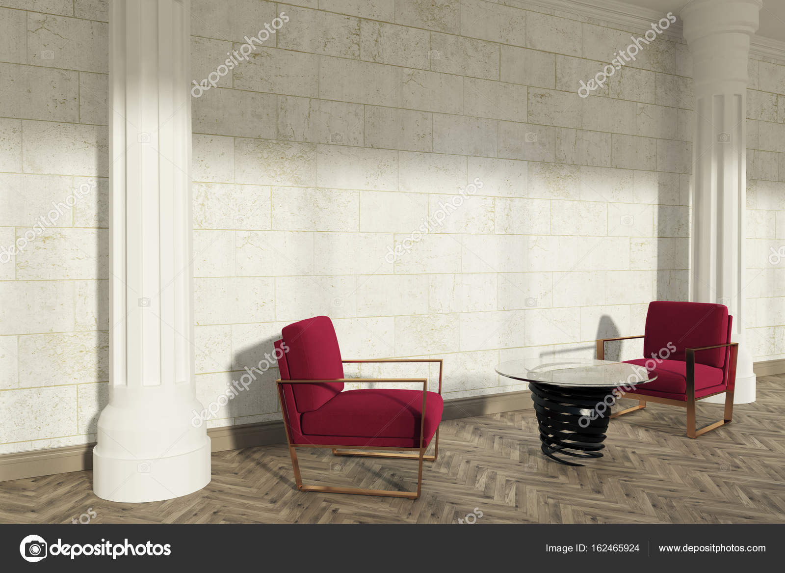 Columns living room, red armchairs, side — Stock Photo ...