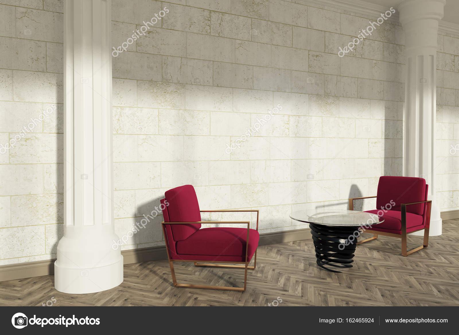 Fauteuils de salon rouge de colonnes c´té — graphie