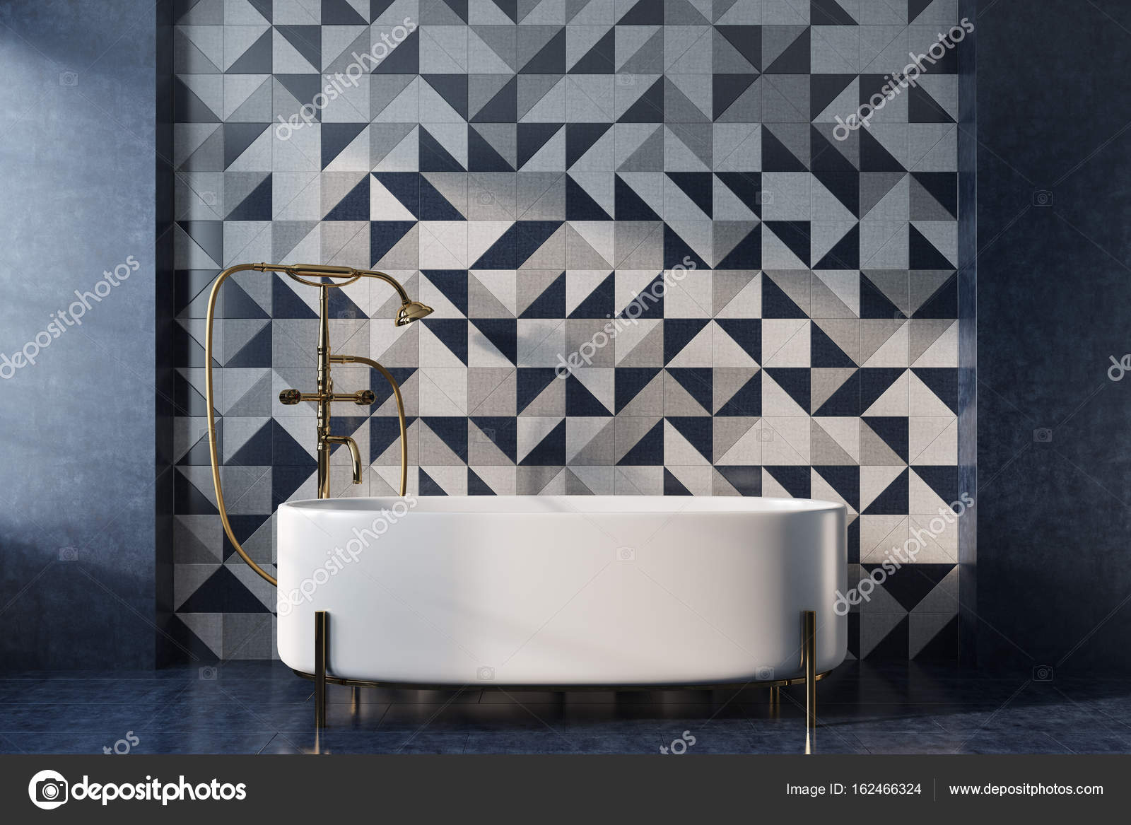 Mozaiek badkamer, witte tub — Stockfoto © denisismagilov #162466324